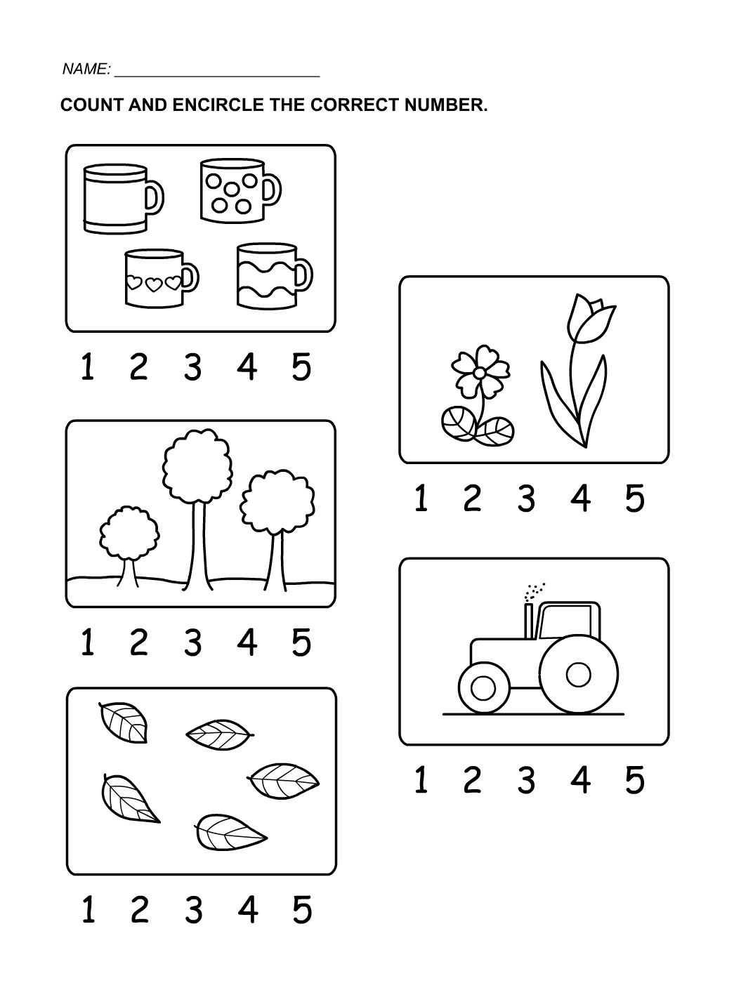 Numbers 1 5 Worksheet For Kindergarten