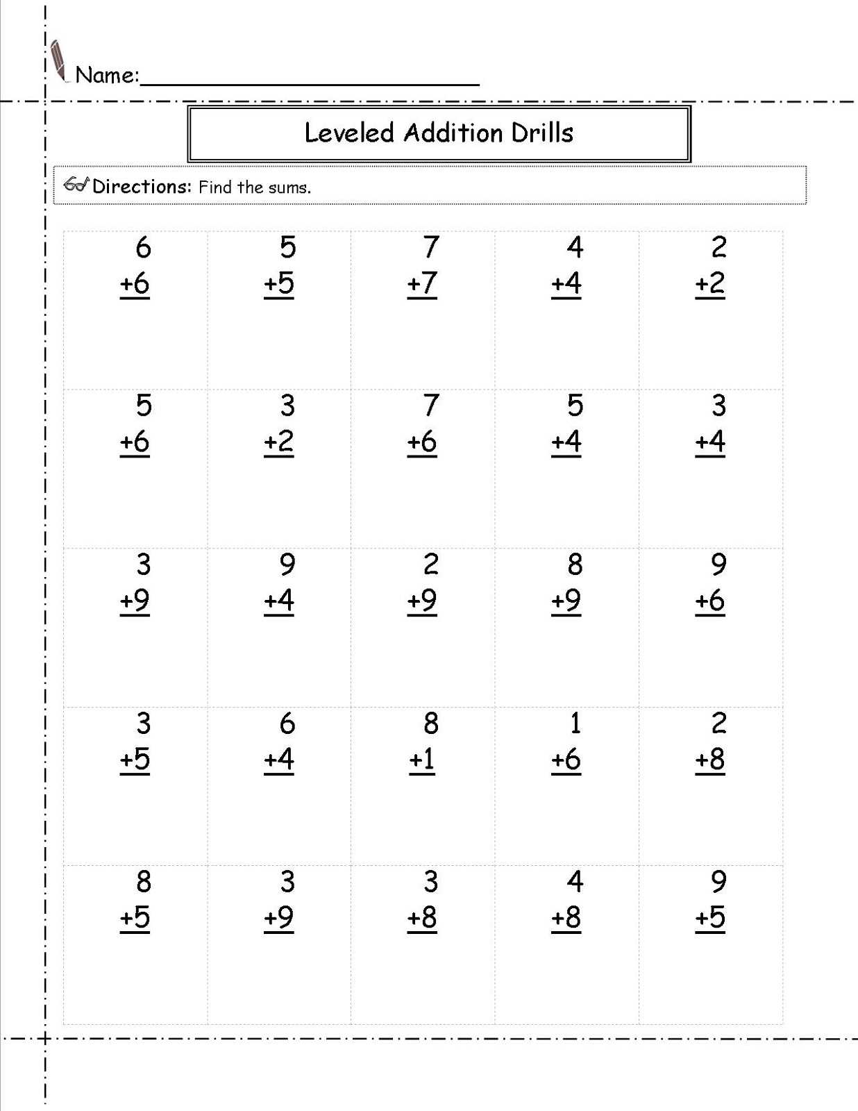 Printables Of Grade 1 Math Addition