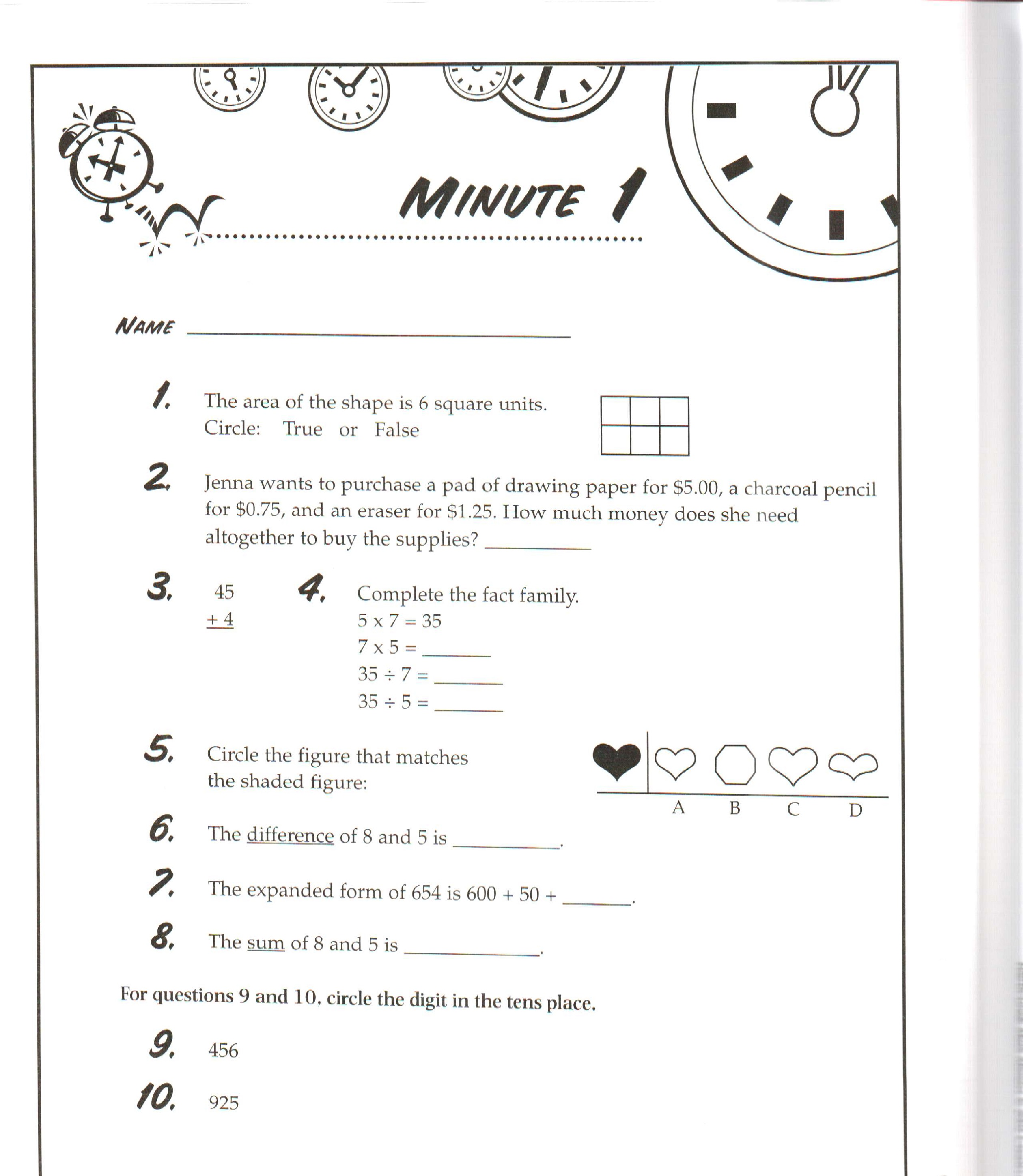 Math Worksheets For Grade 1