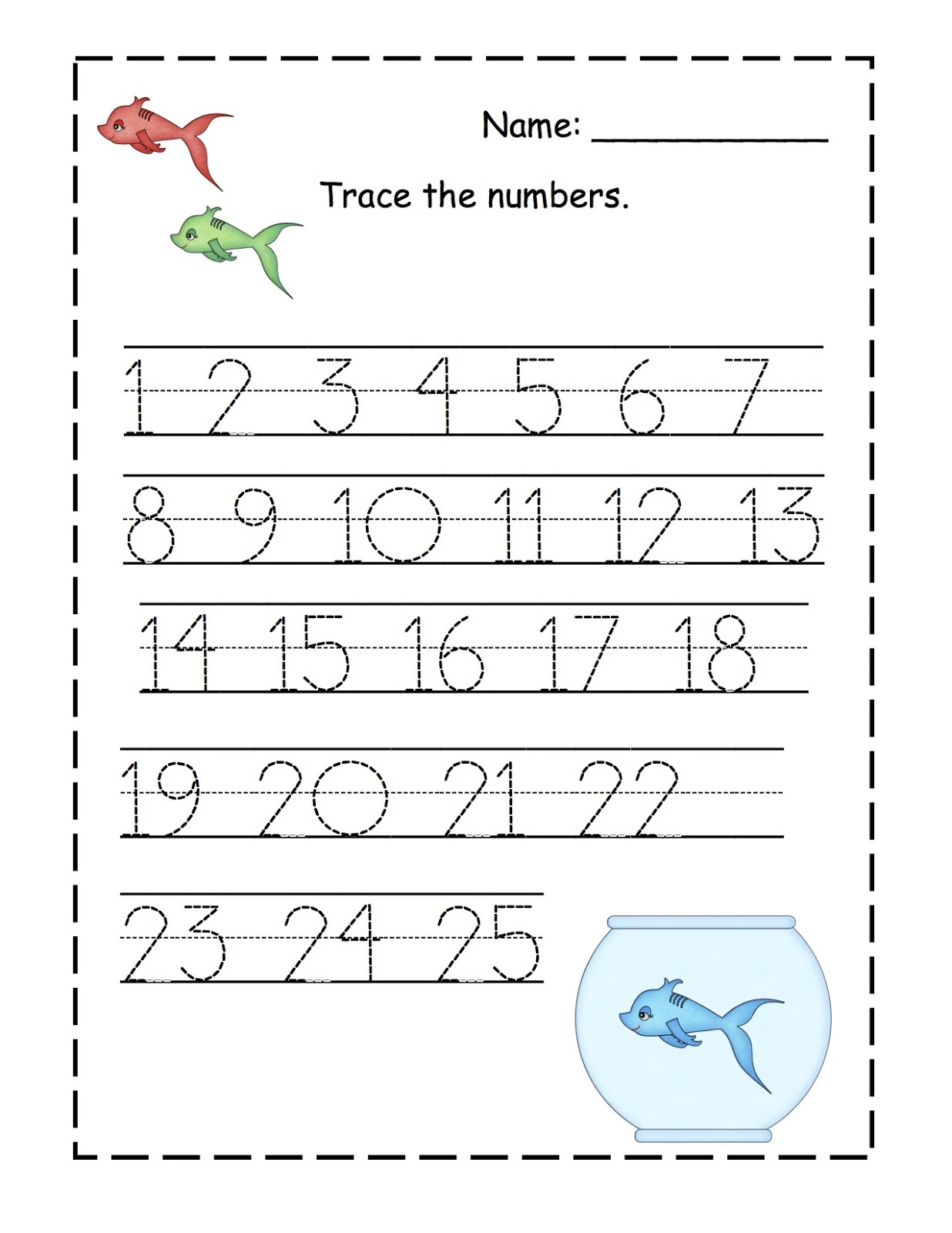 Number Trace Worksheets For Kids