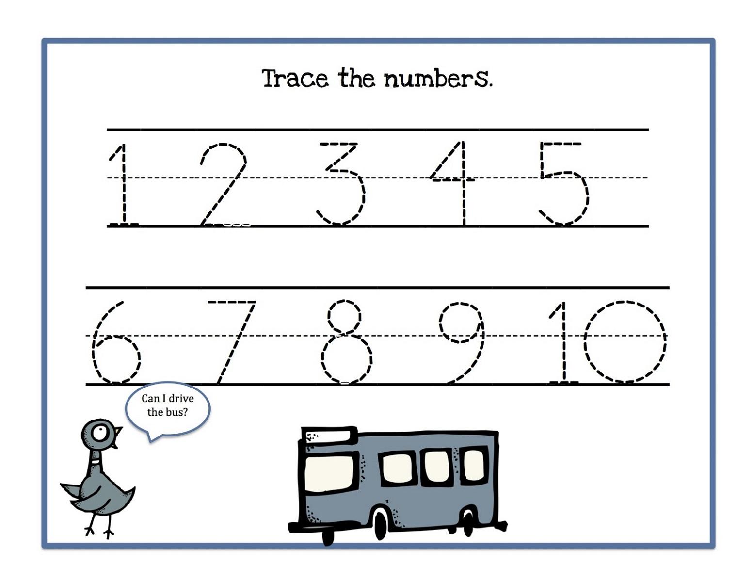 Number Trace Worksheets For Kids