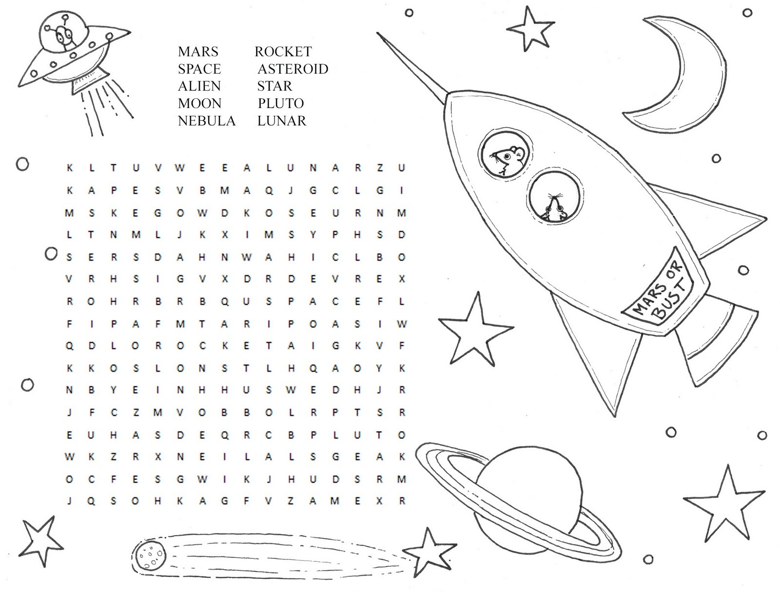Printable Space Puzzles For Kids