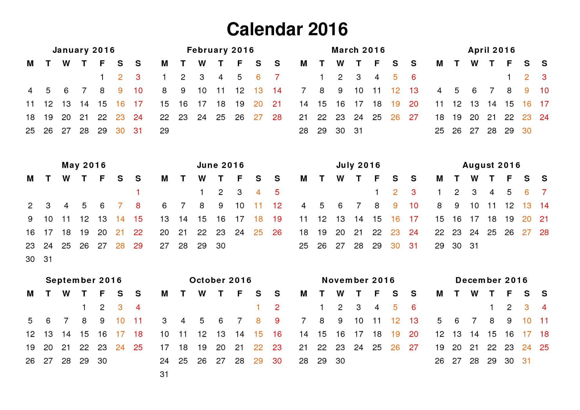 Yearly Calendar Printable