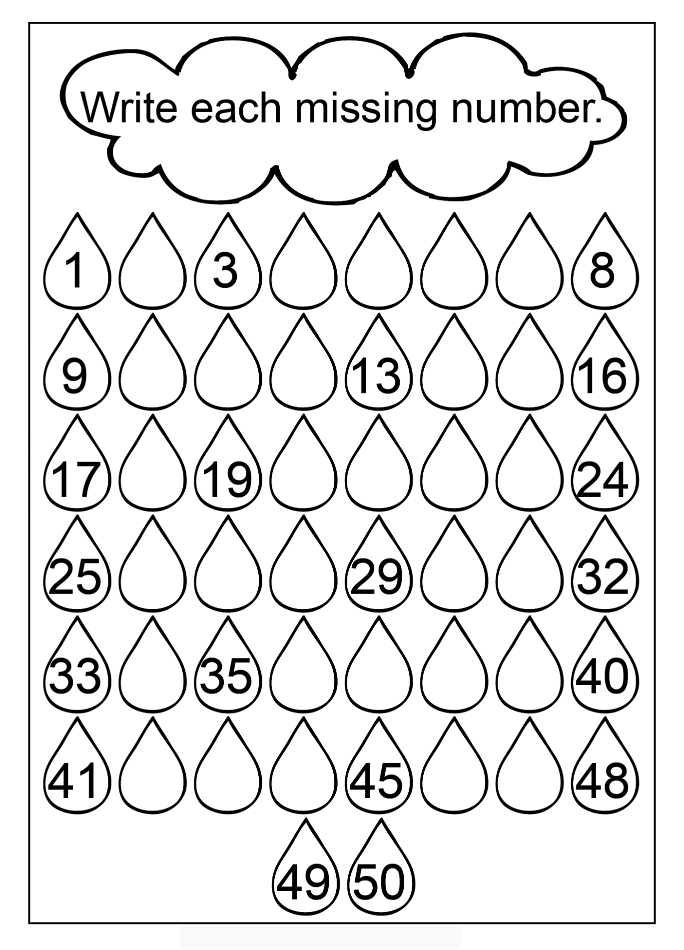1 50 Number Charts To Print