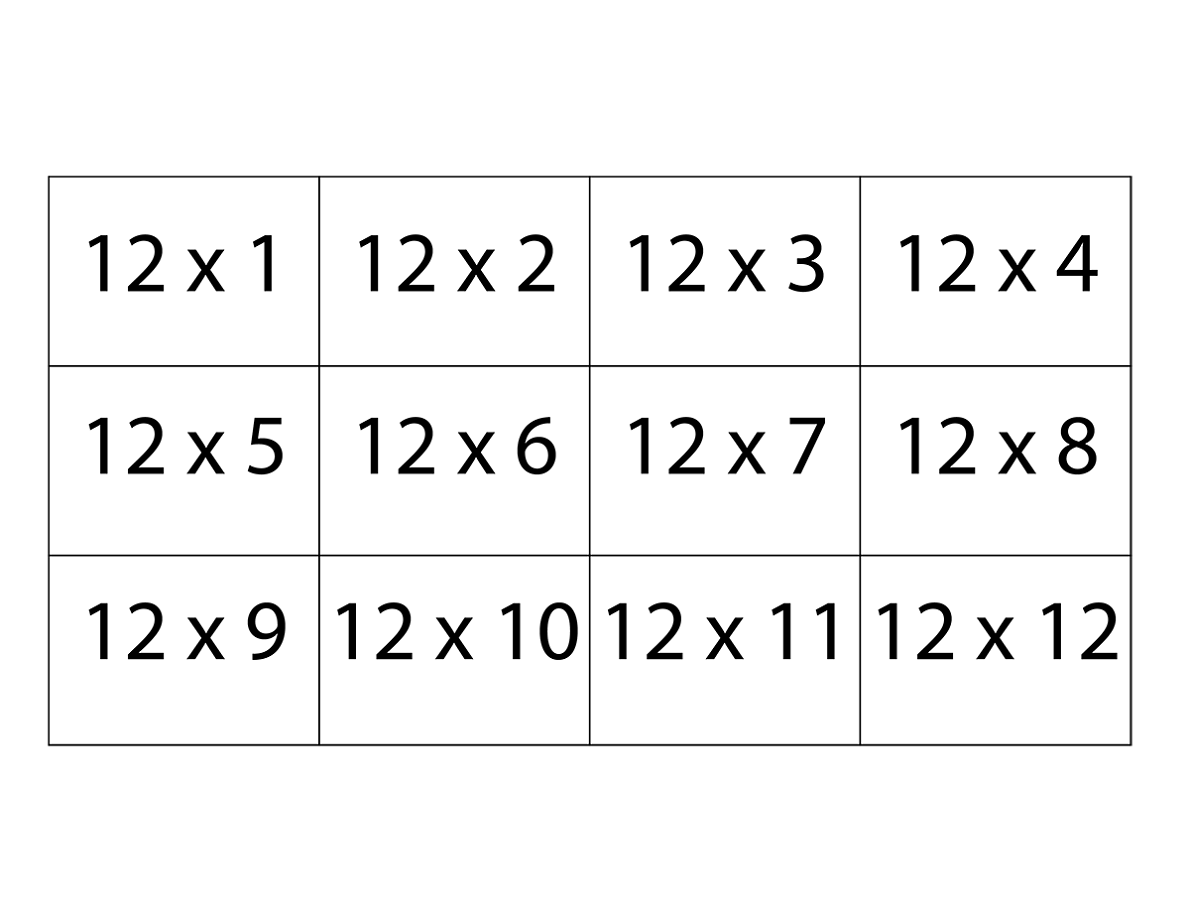 Games Multiplication Worksheet 12