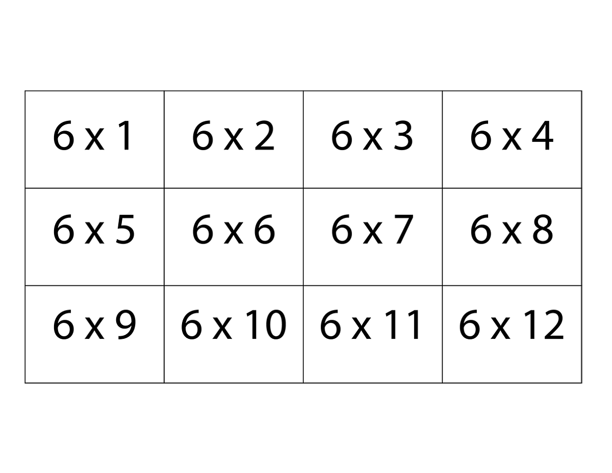 Printable 6 Times Table Charts