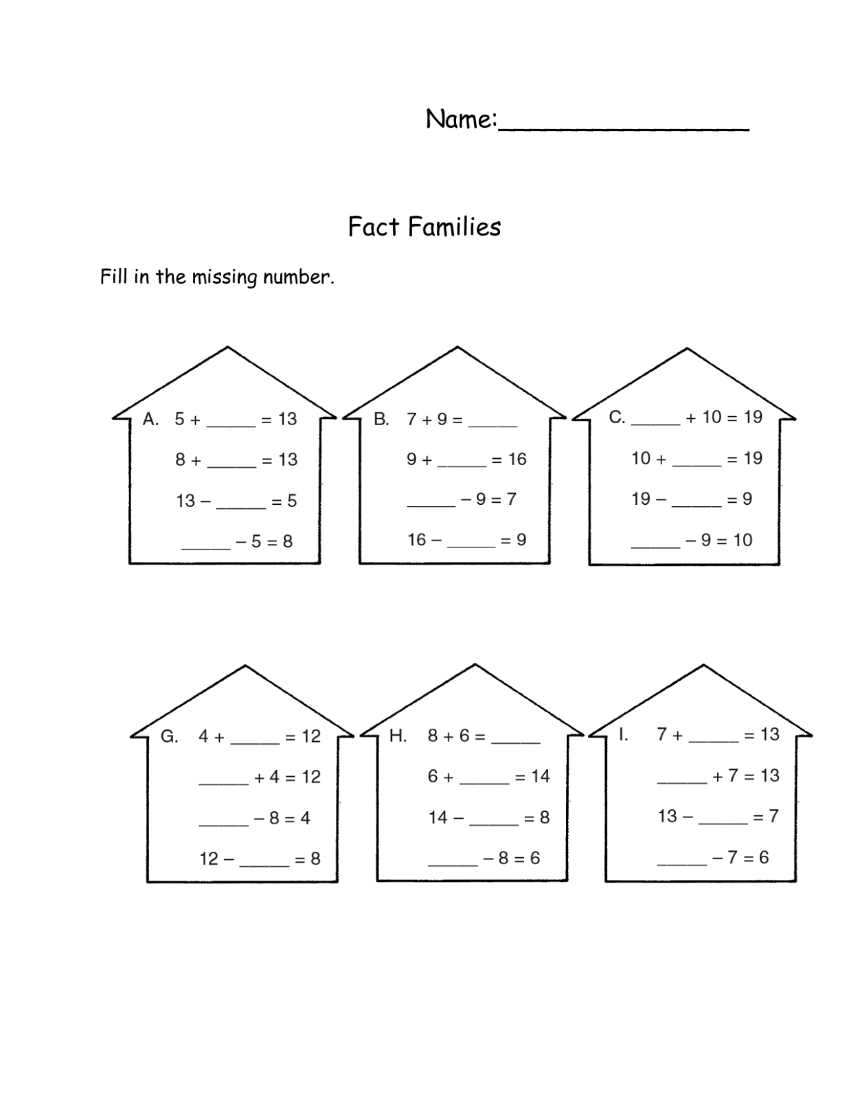 Blank Fact Family Worksheets