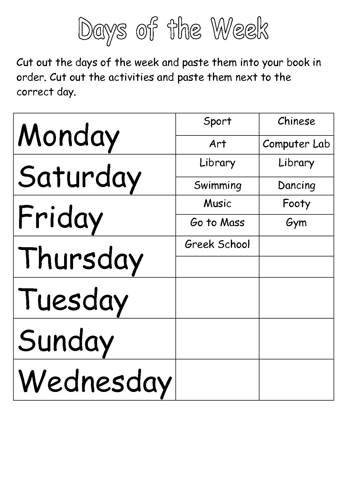Days Of The Week Activities