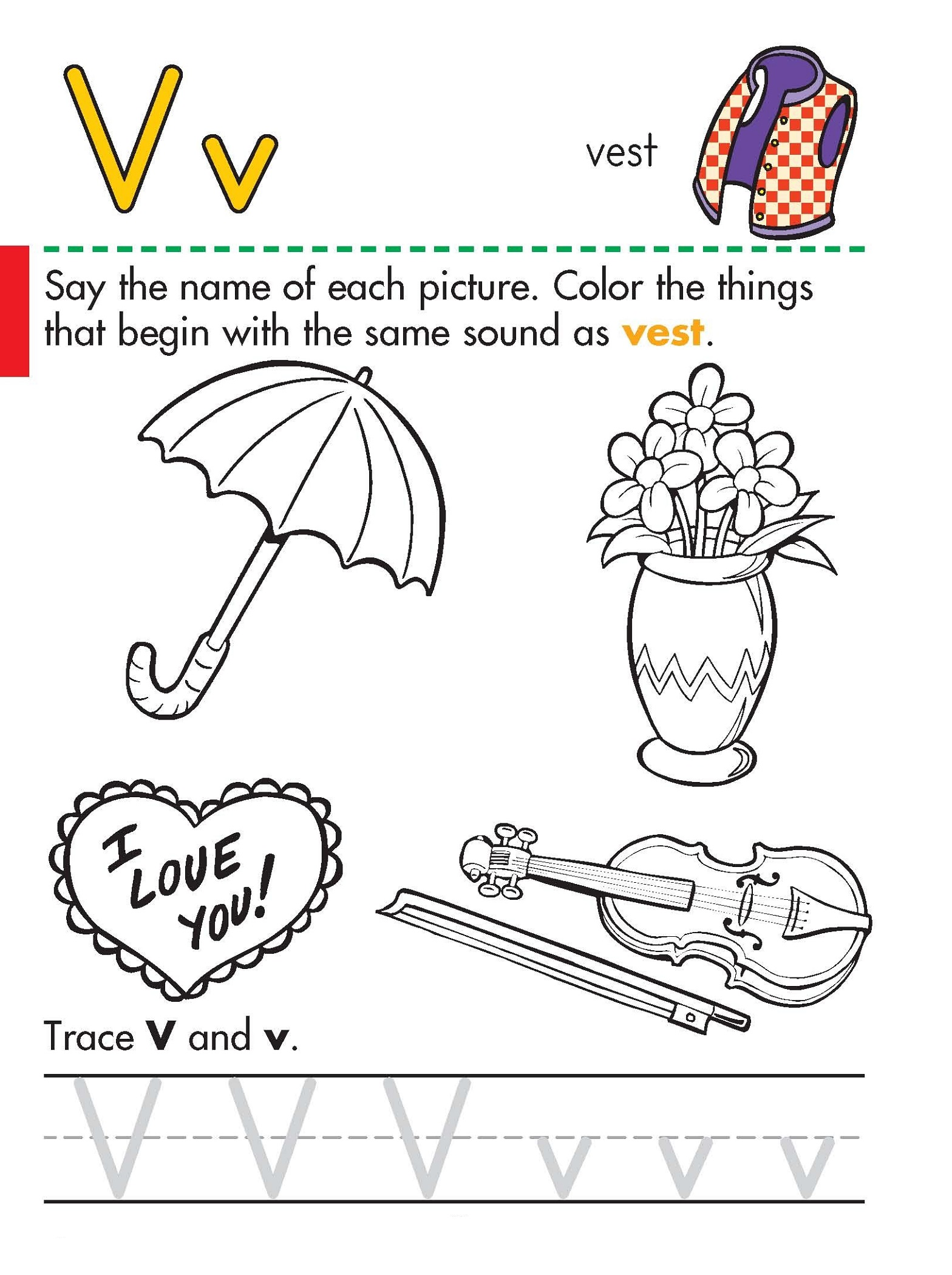 V Worksheet For Preschoolers