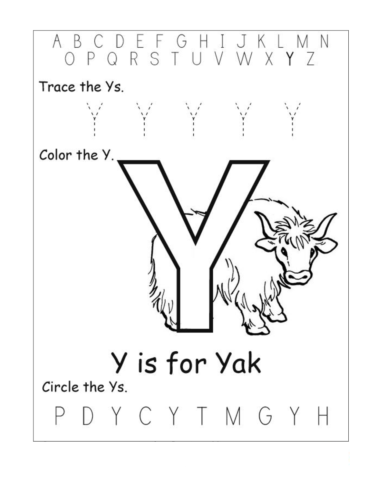 Letter Y Worksheets To Print