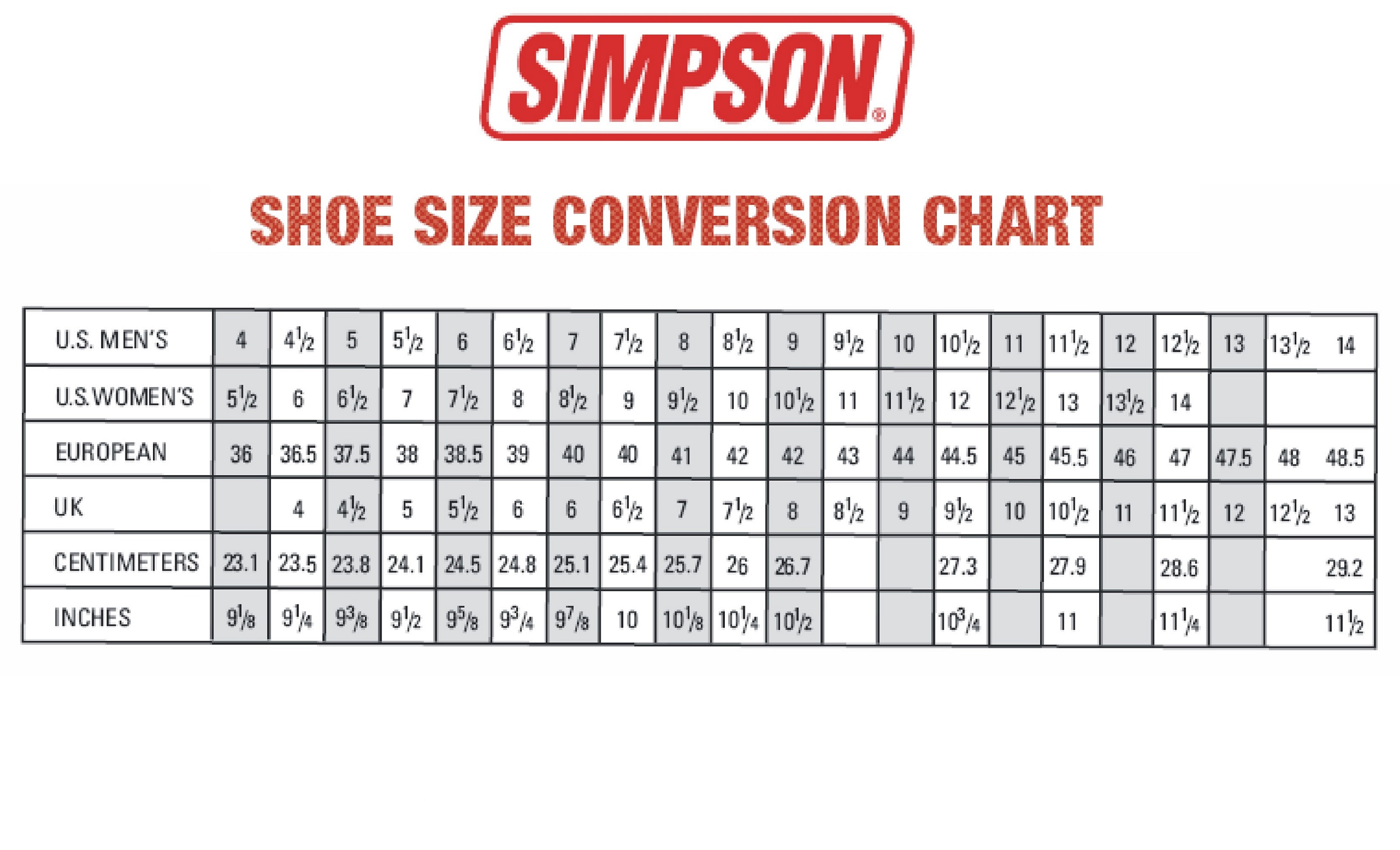 Men Shoe Size Charts