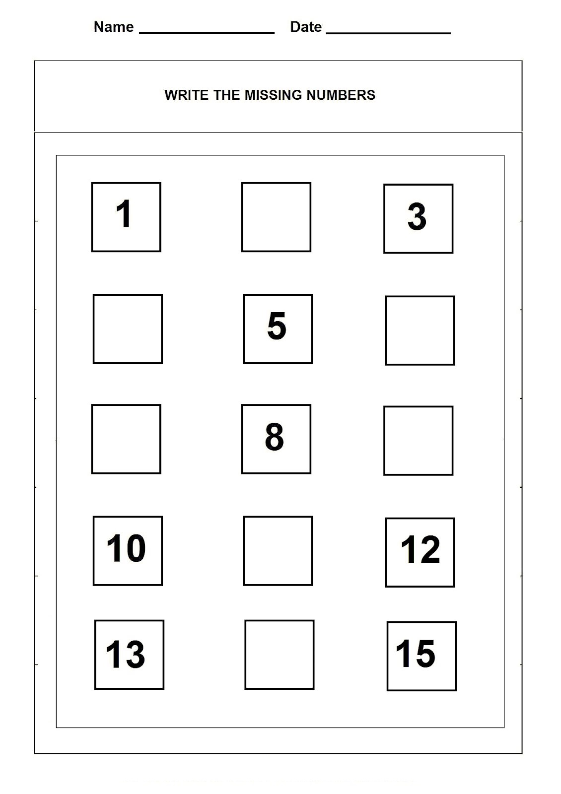 Number 15 Worksheets Printable