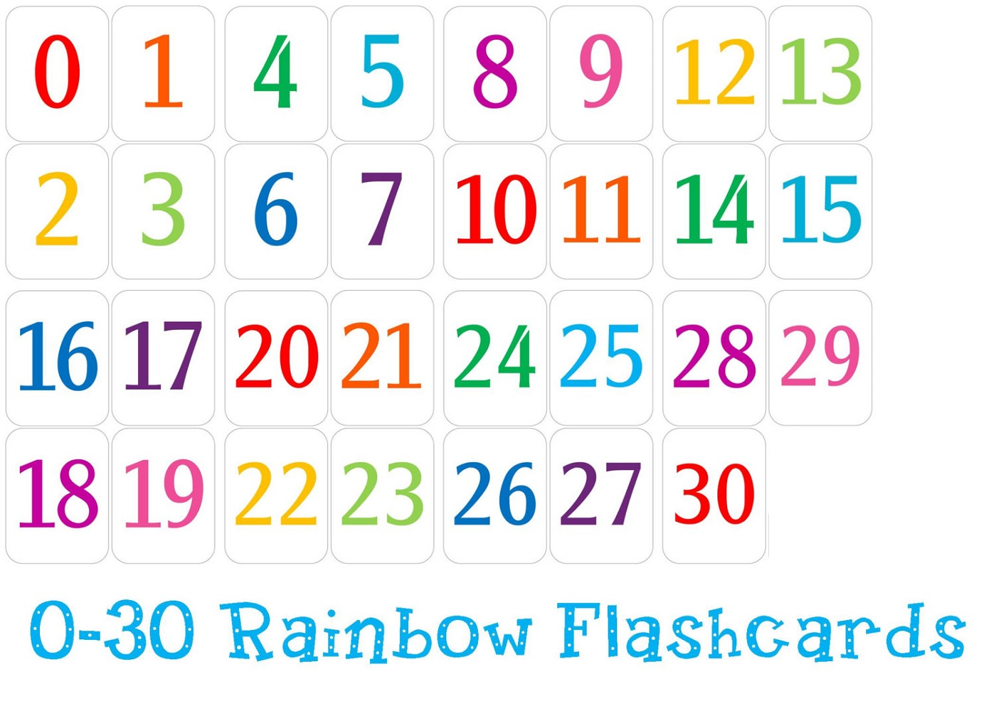 Free Printable Number Chart 1 30