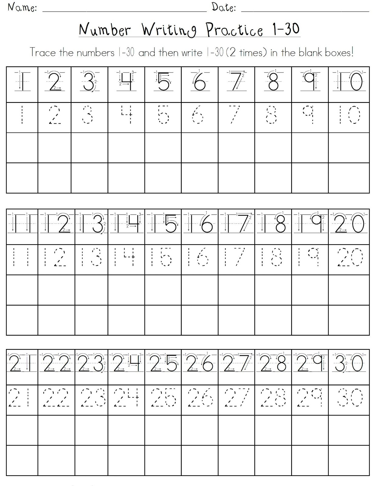 Printable Number 1 30 Worksheets