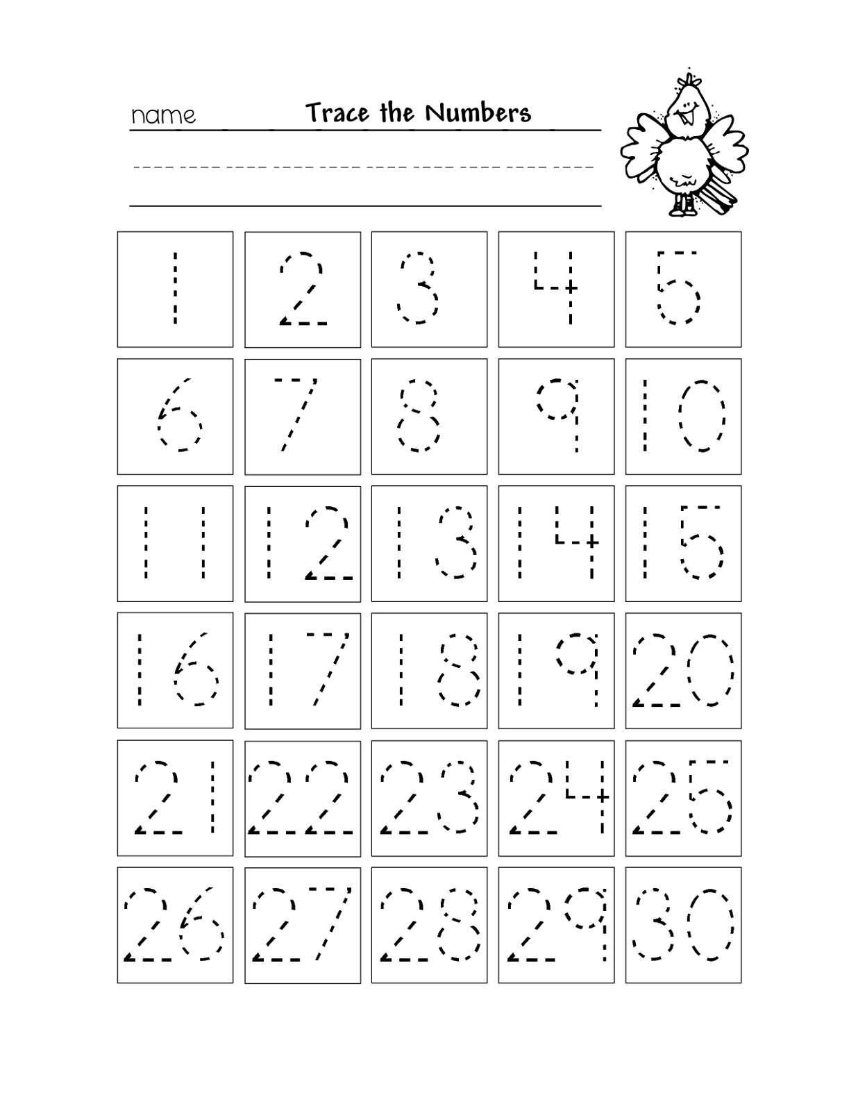 Tracing Numbers 1 30 Worksheet Ocean Theme