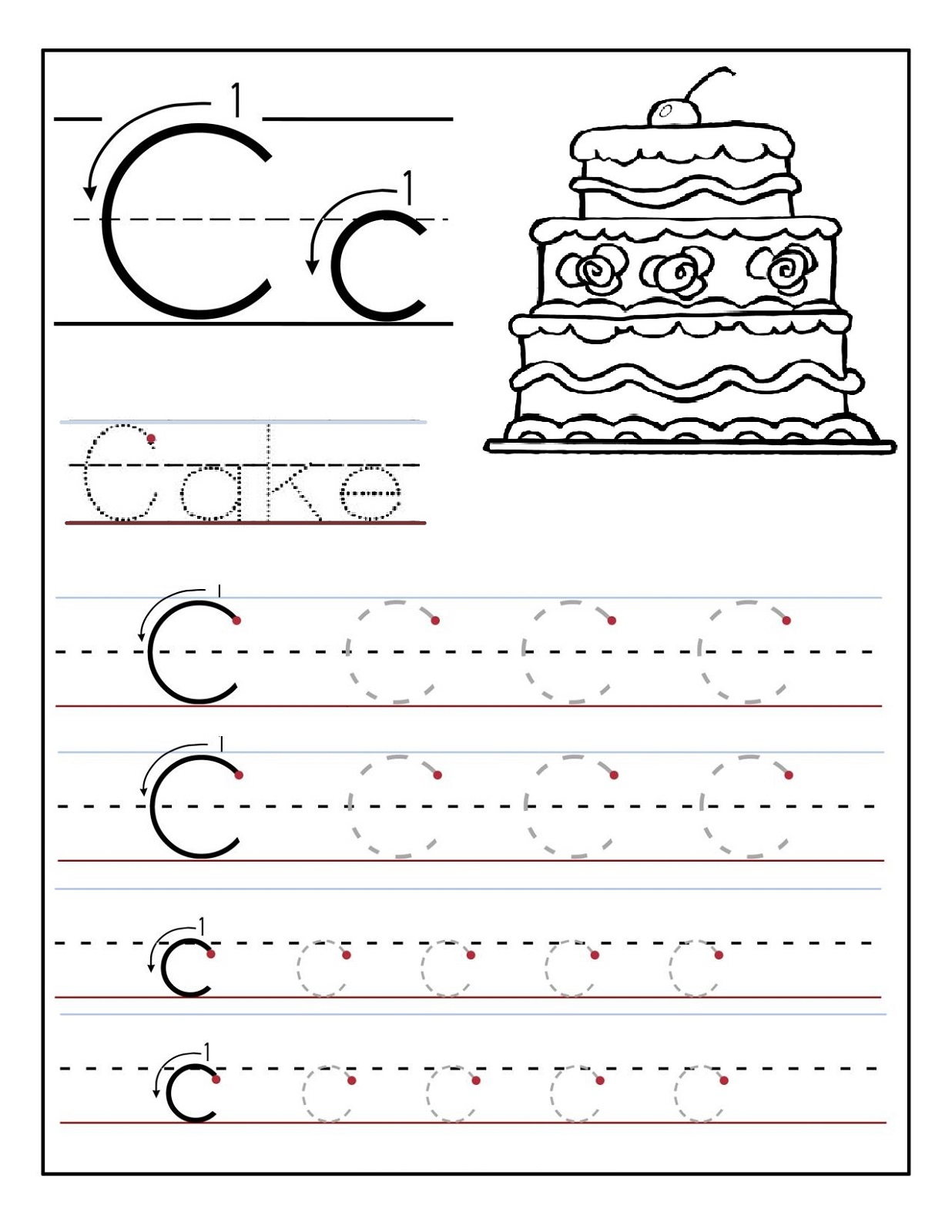Preschool Alphabet Worksheets Cake