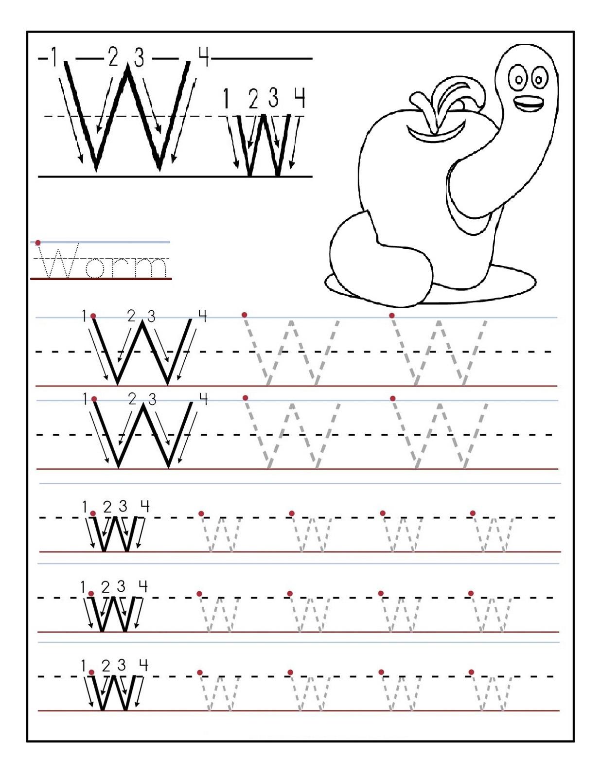 Preschool Alphabet Worksheets Worm With