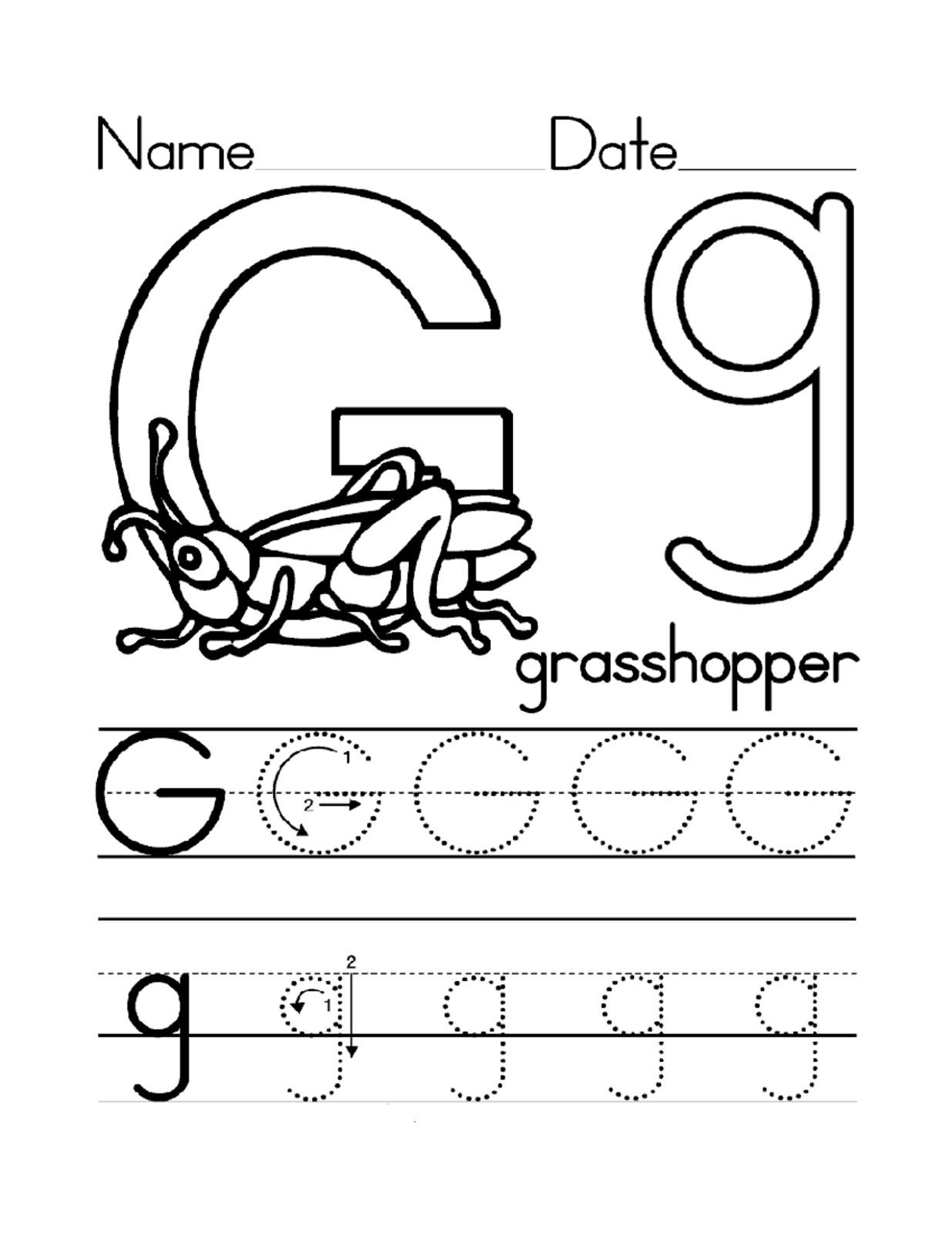 Trace Letter G Worksheets