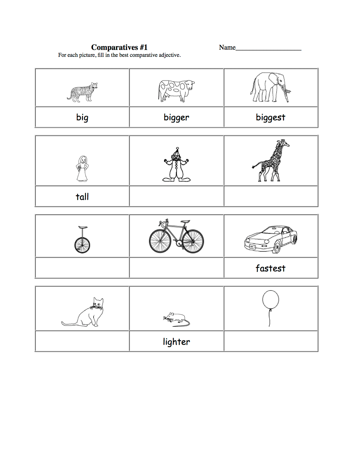 Kindergarten Worksheet Cut Paste Size Comparison