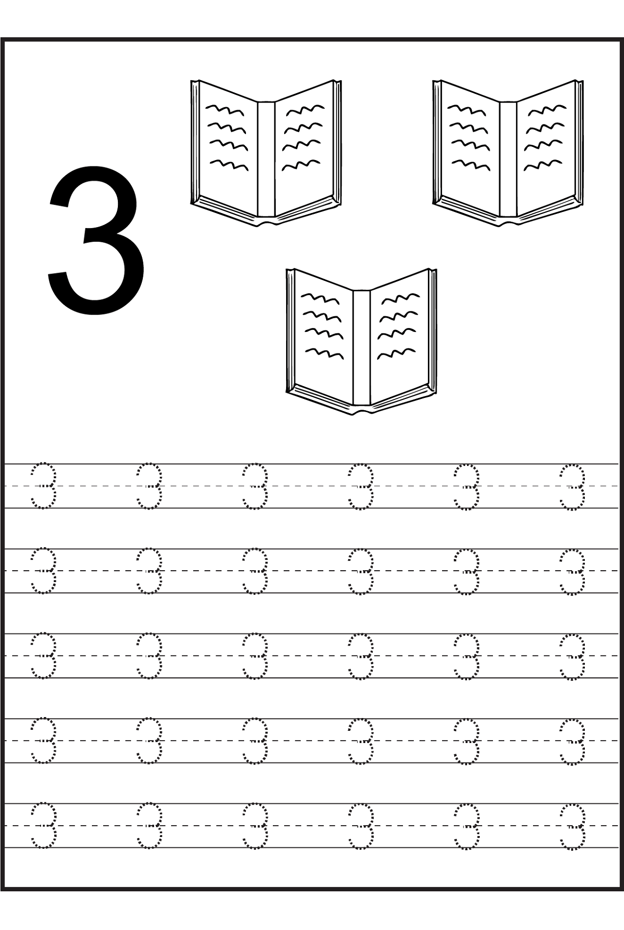 Number 3 Worksheets For Preschoolers