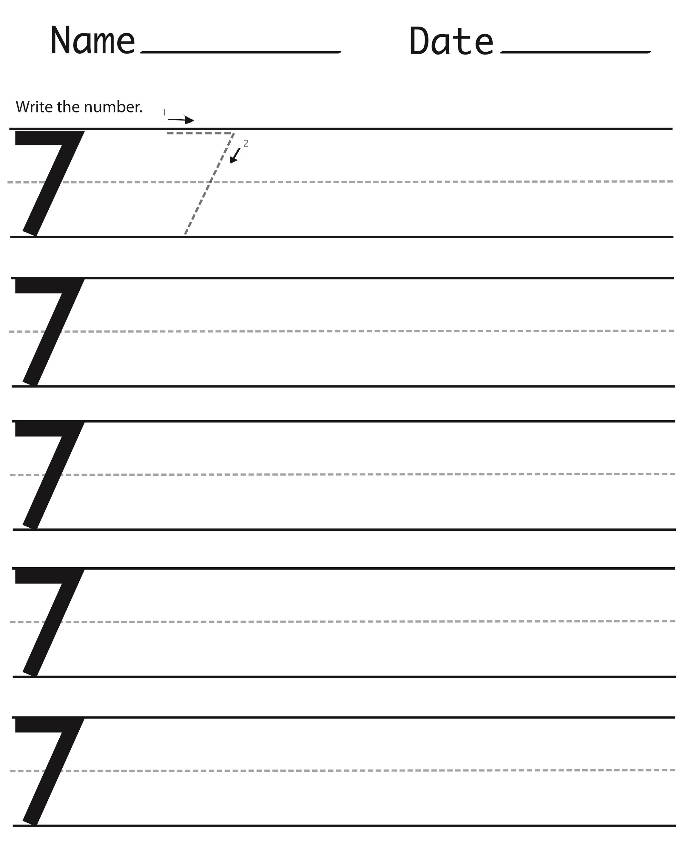 Printable Number 7 Worksheets