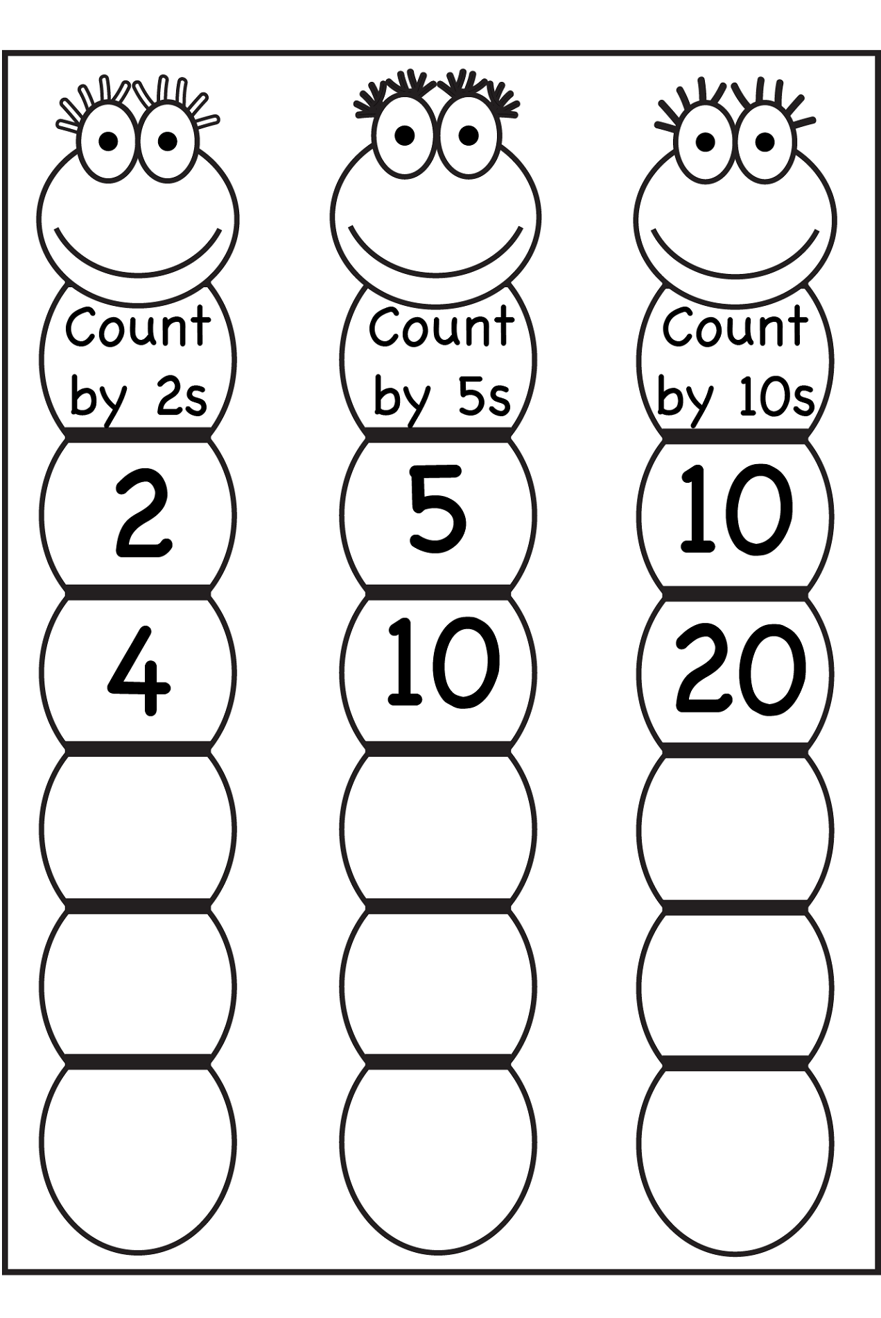 Worksheet For Kindergarten Skip Counting