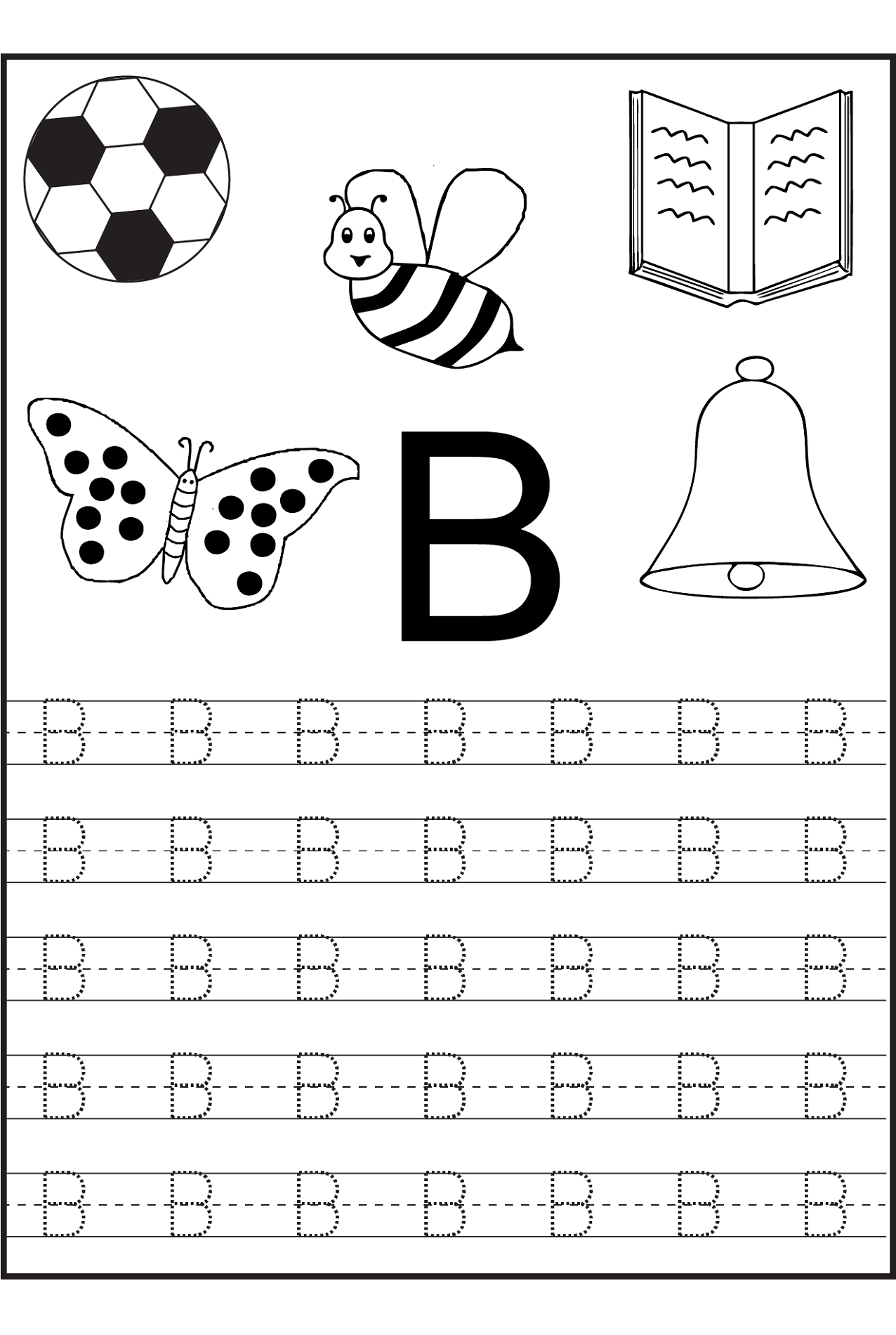 Number Preschool Worksheet Letter B 2