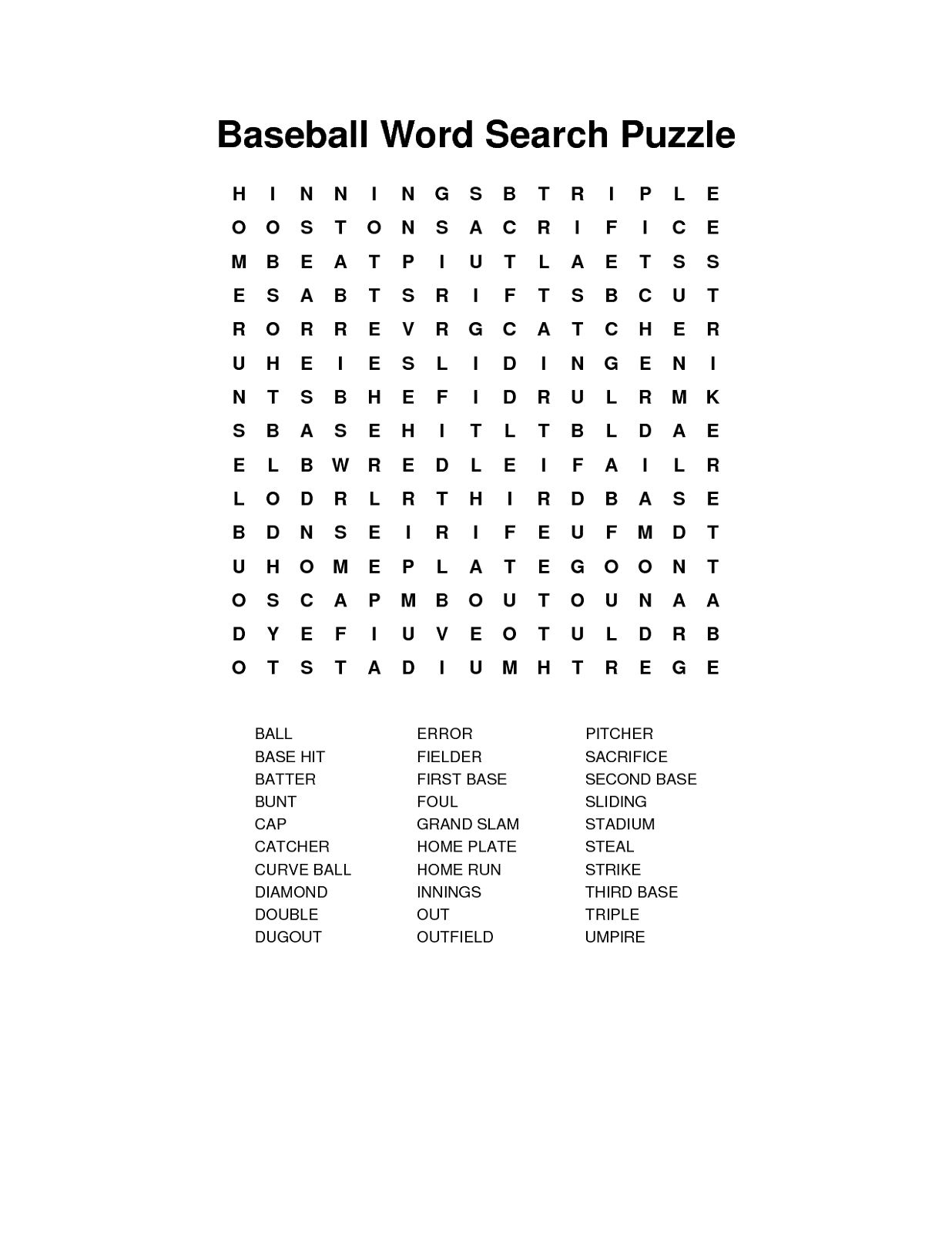 Free Baseball Word Search