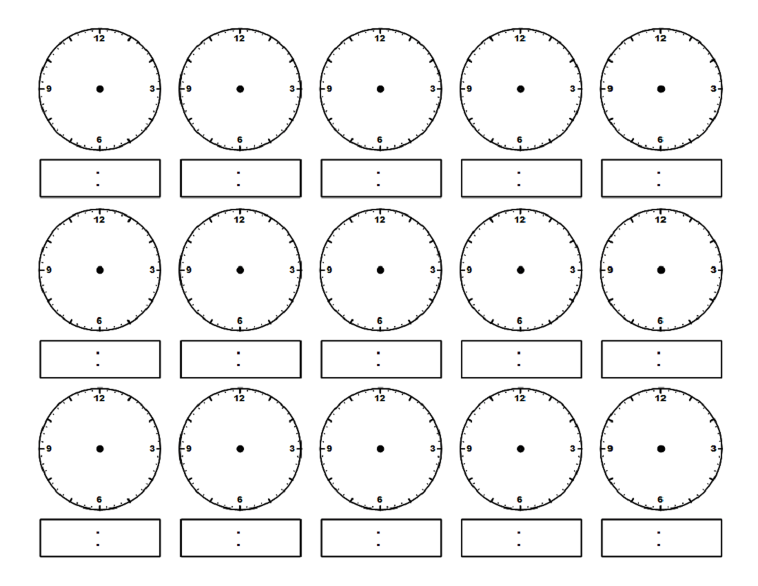 Blank Printable Clock Face Worksheets