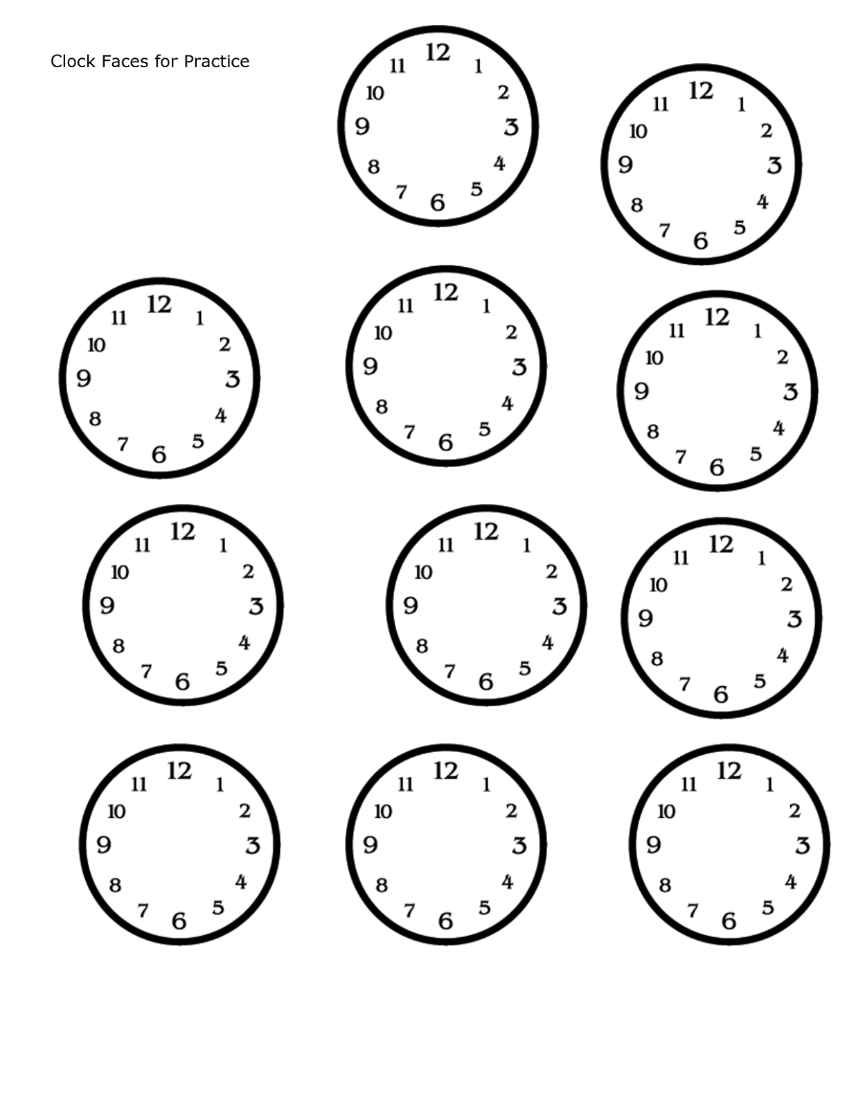Clock Face Worksheets To Print