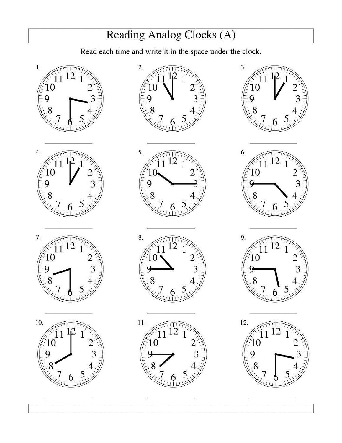 Printable Time Worksheet 4s