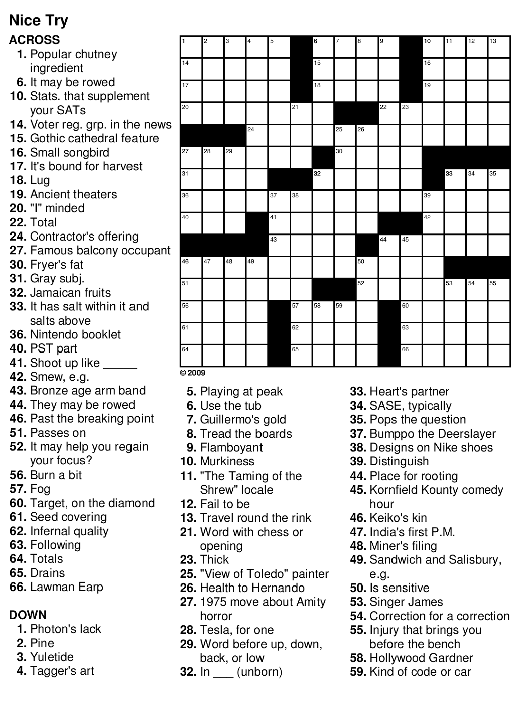Easy Crossword Puzzles For Seniors