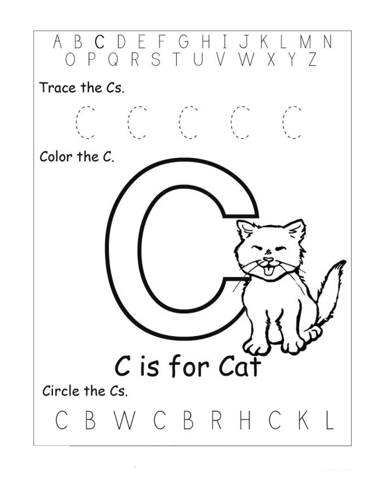 Letter C Worksheets For Toddlers