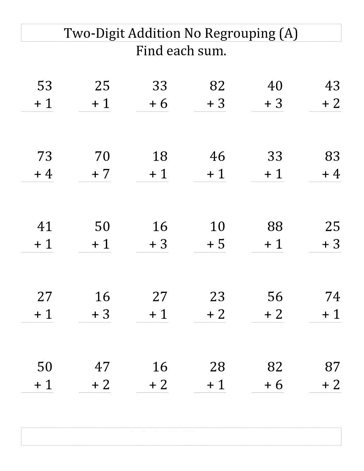 Double Digit Adding Math Worksheet