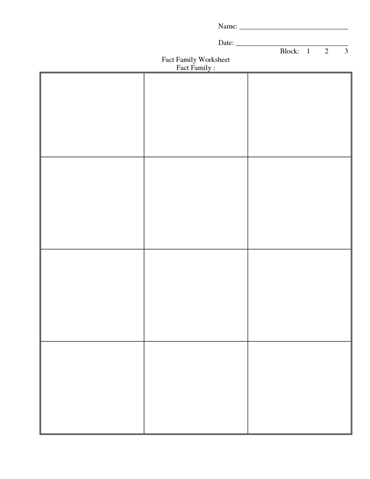 Family Facts Worksheets