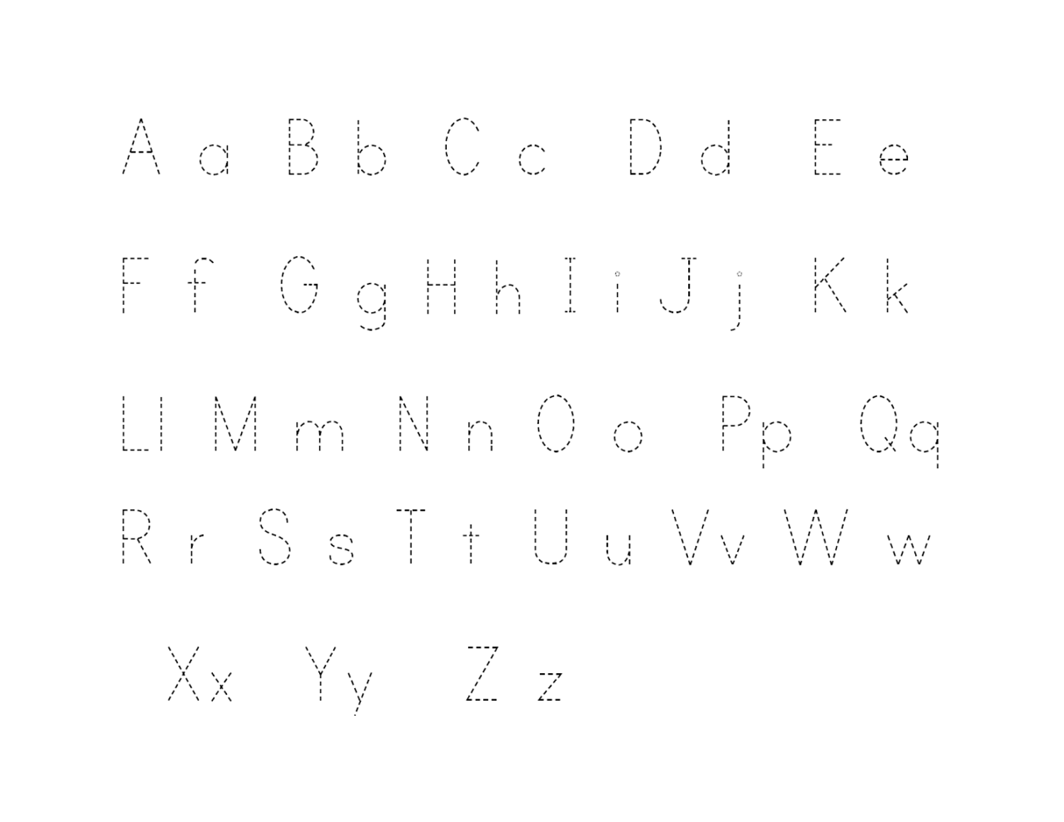 Printable Traceable Alphabet Letters