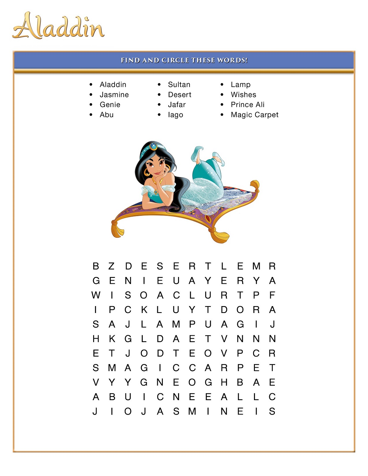 Easy Disney Word Searches