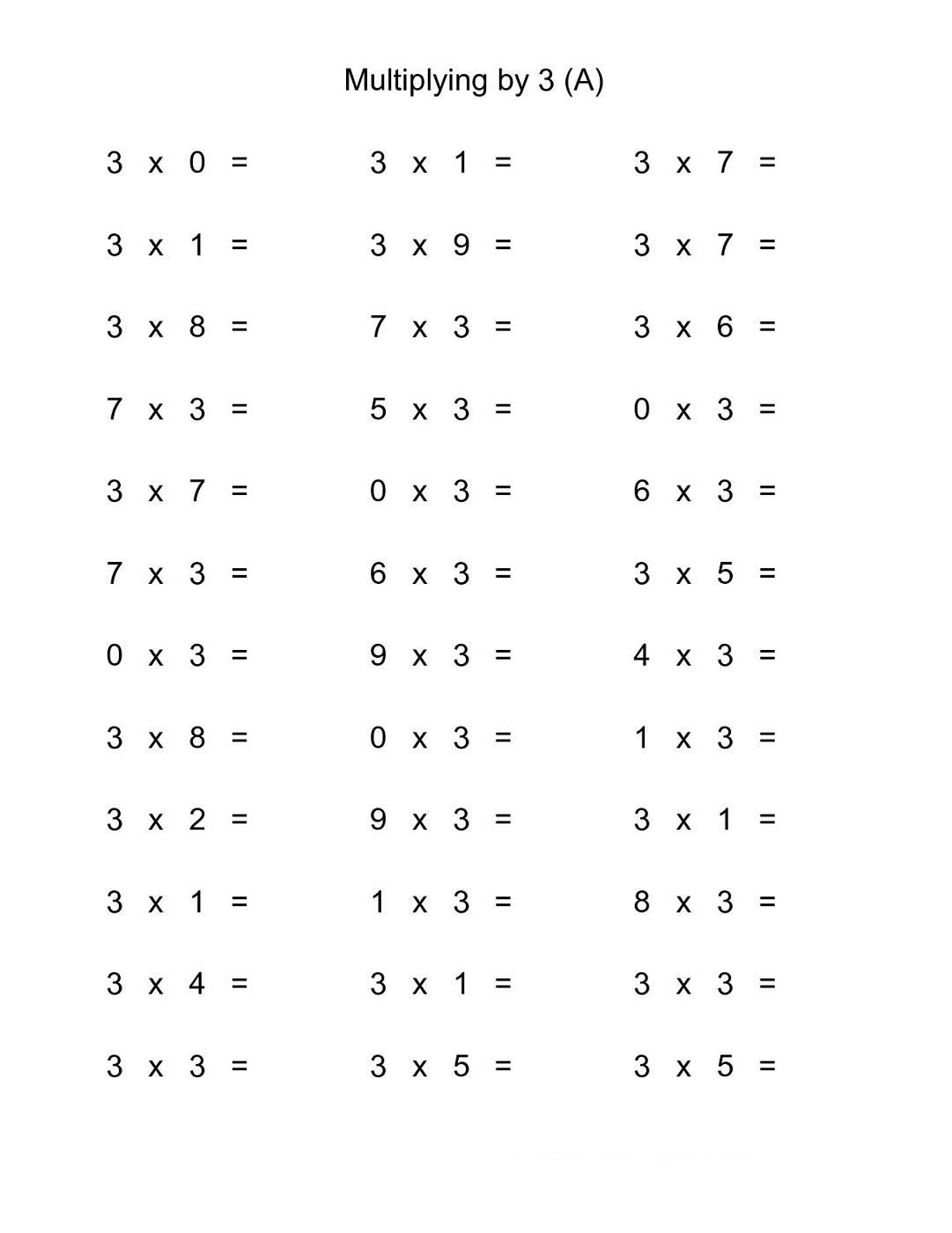 Multiply By 3 Worksheets Printable