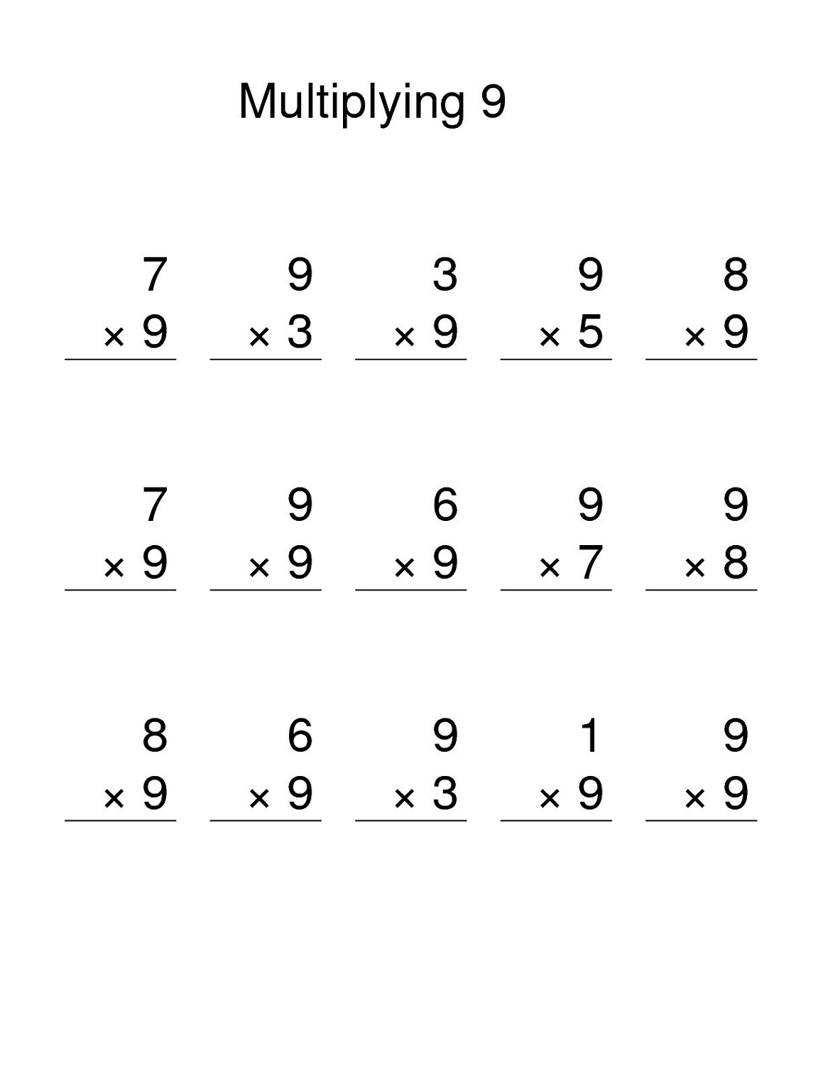 Multiplication Worksheet Multiplying By 9