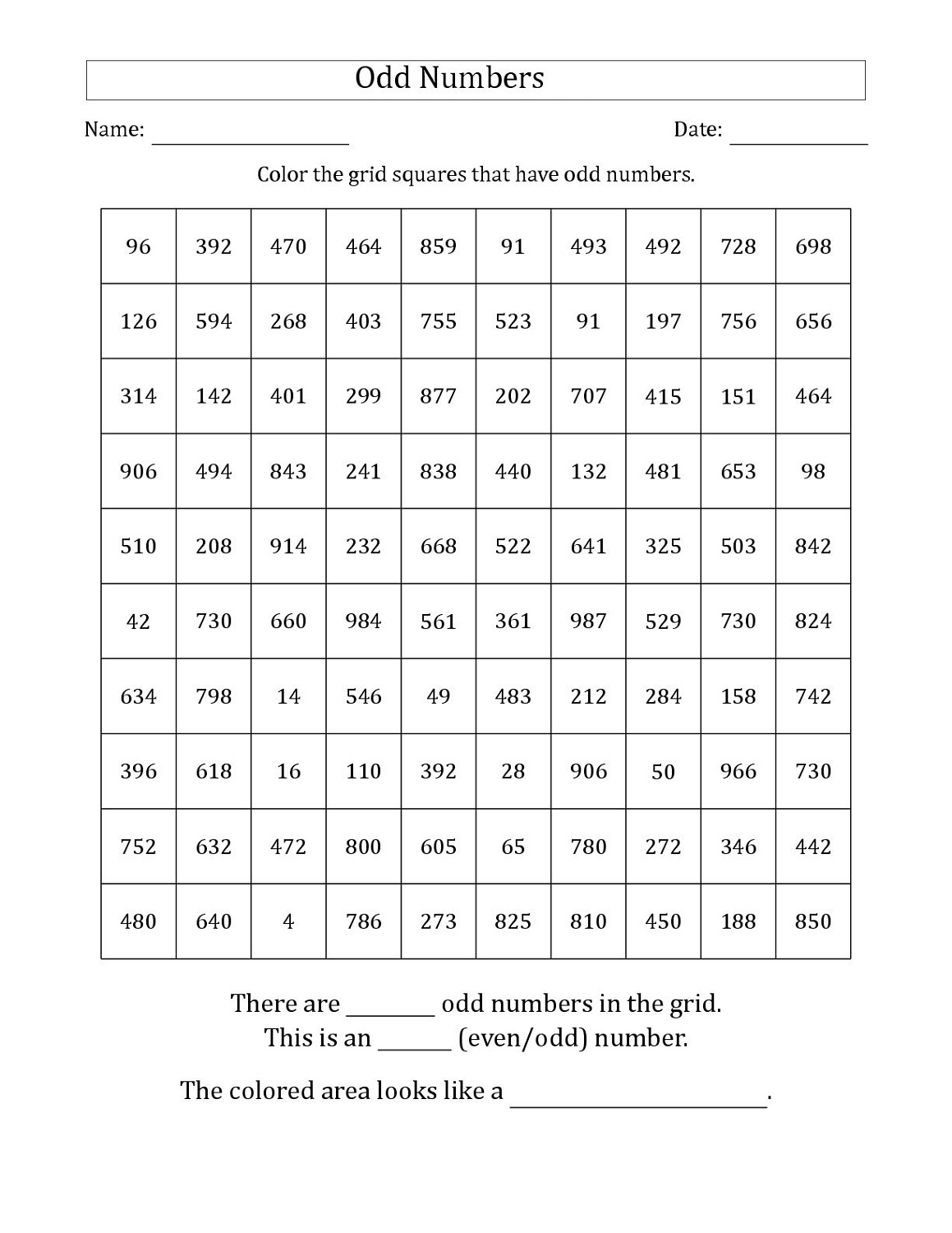 Printable Odd Even Worksheets