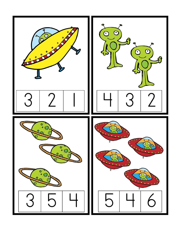 Space Theme Preschool Printable Worksheet