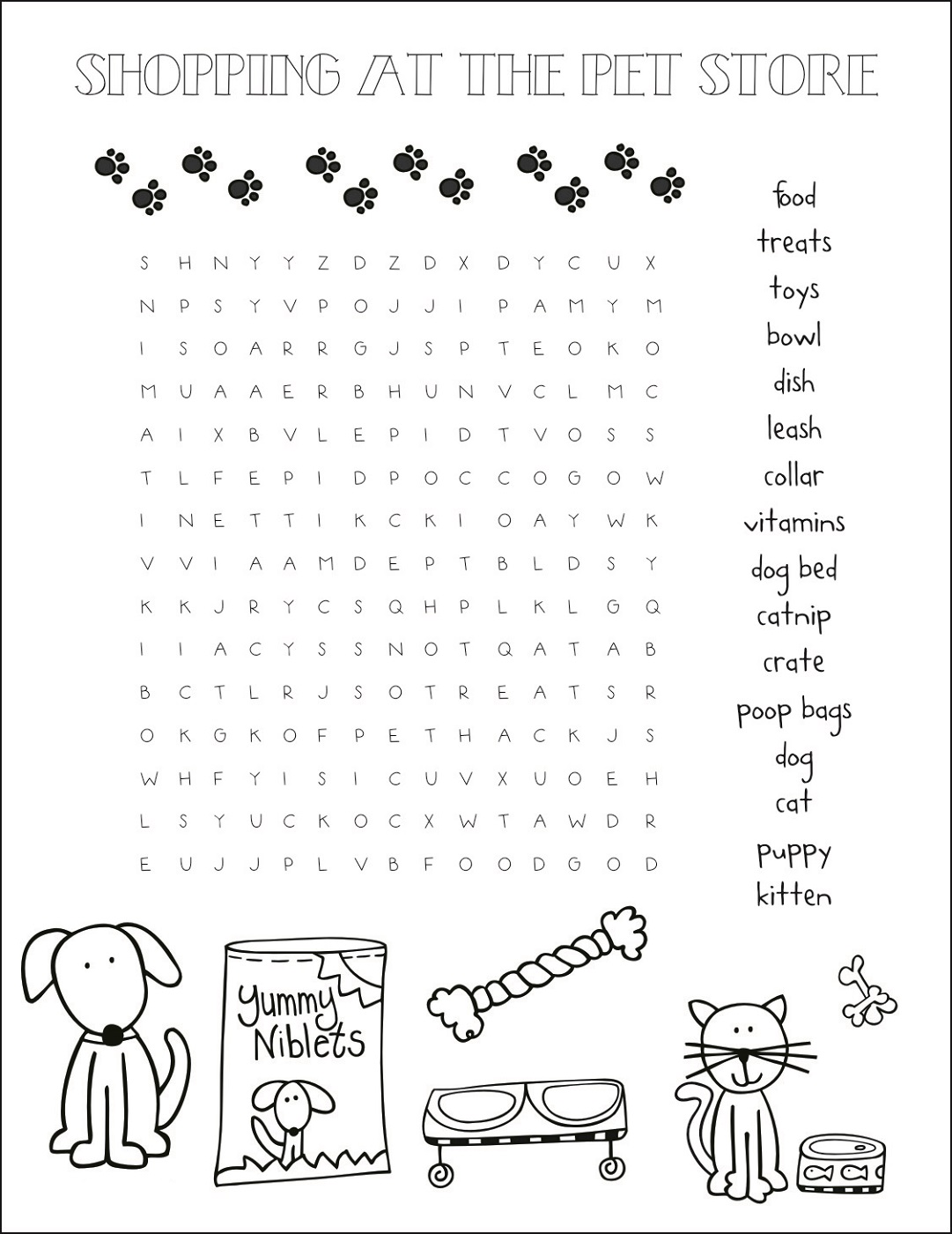 Pet Word Search Printable