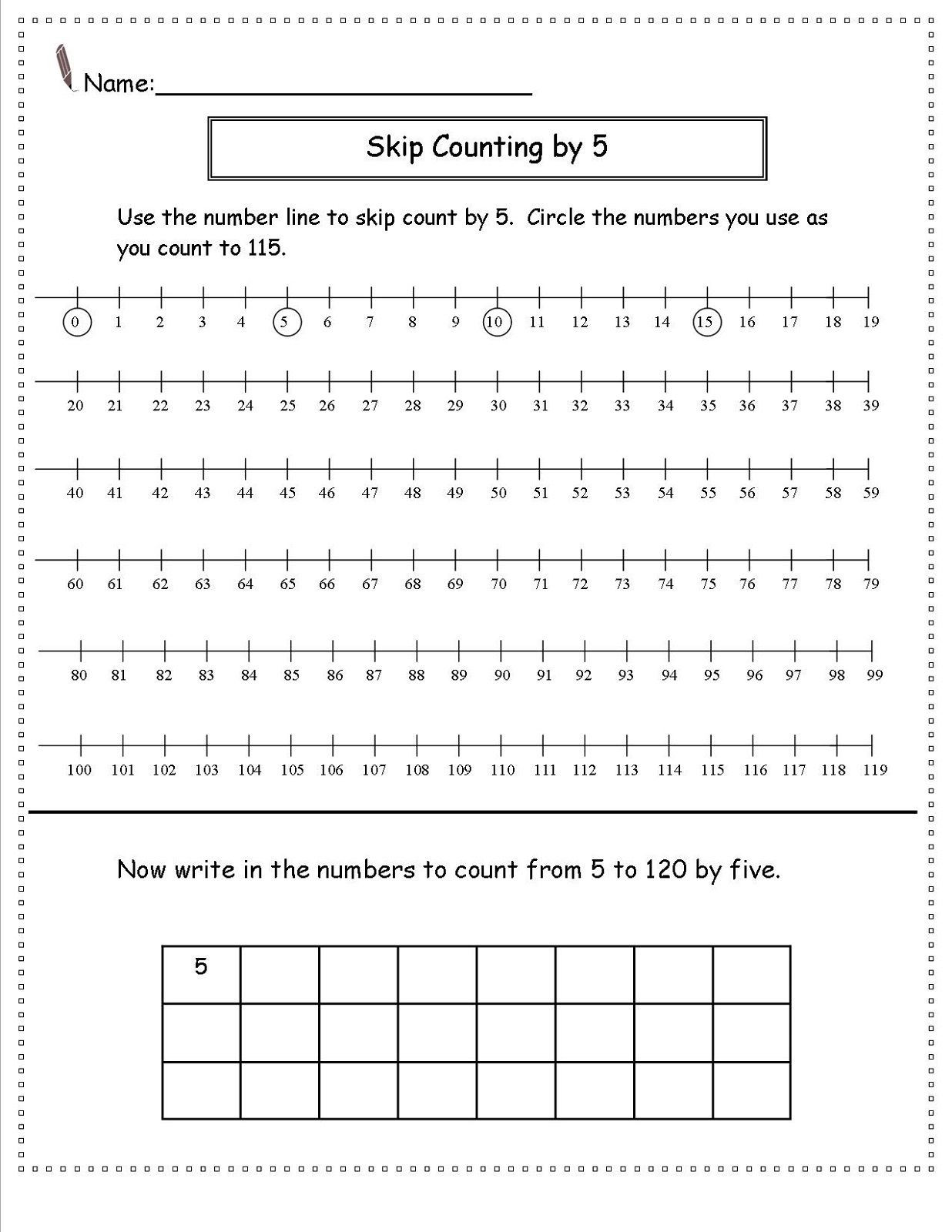 Skip Counting Color Worksheet