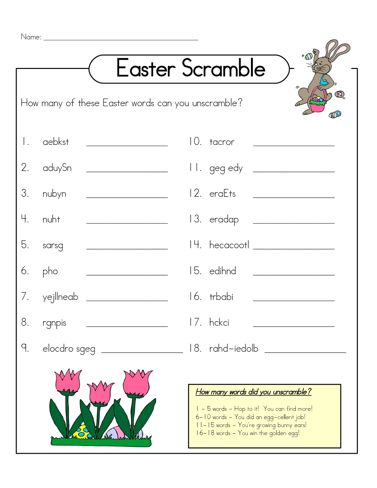 Word Scramble Worksheet Easter Activity Shelter