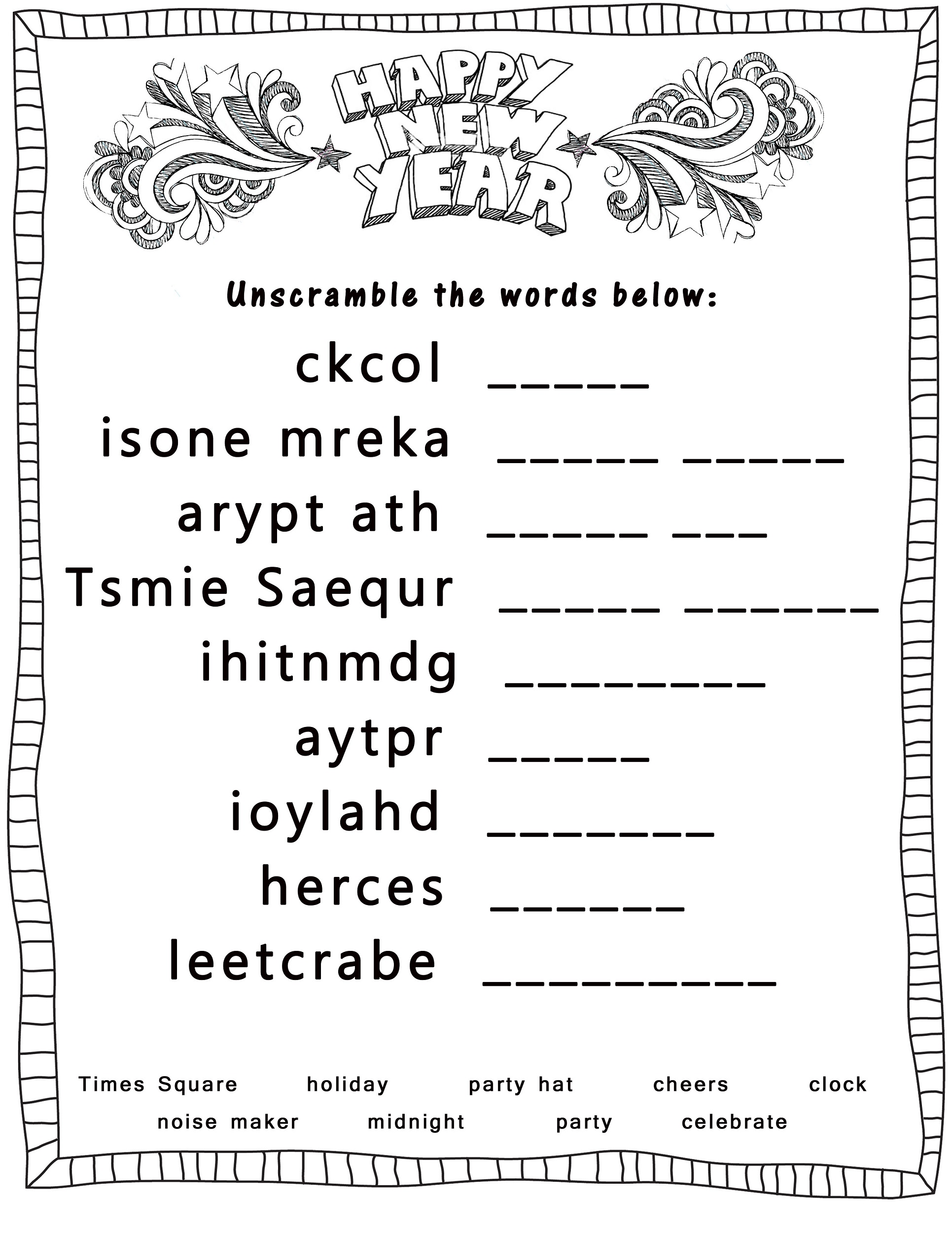 Printable New Year S Eve Worksheet