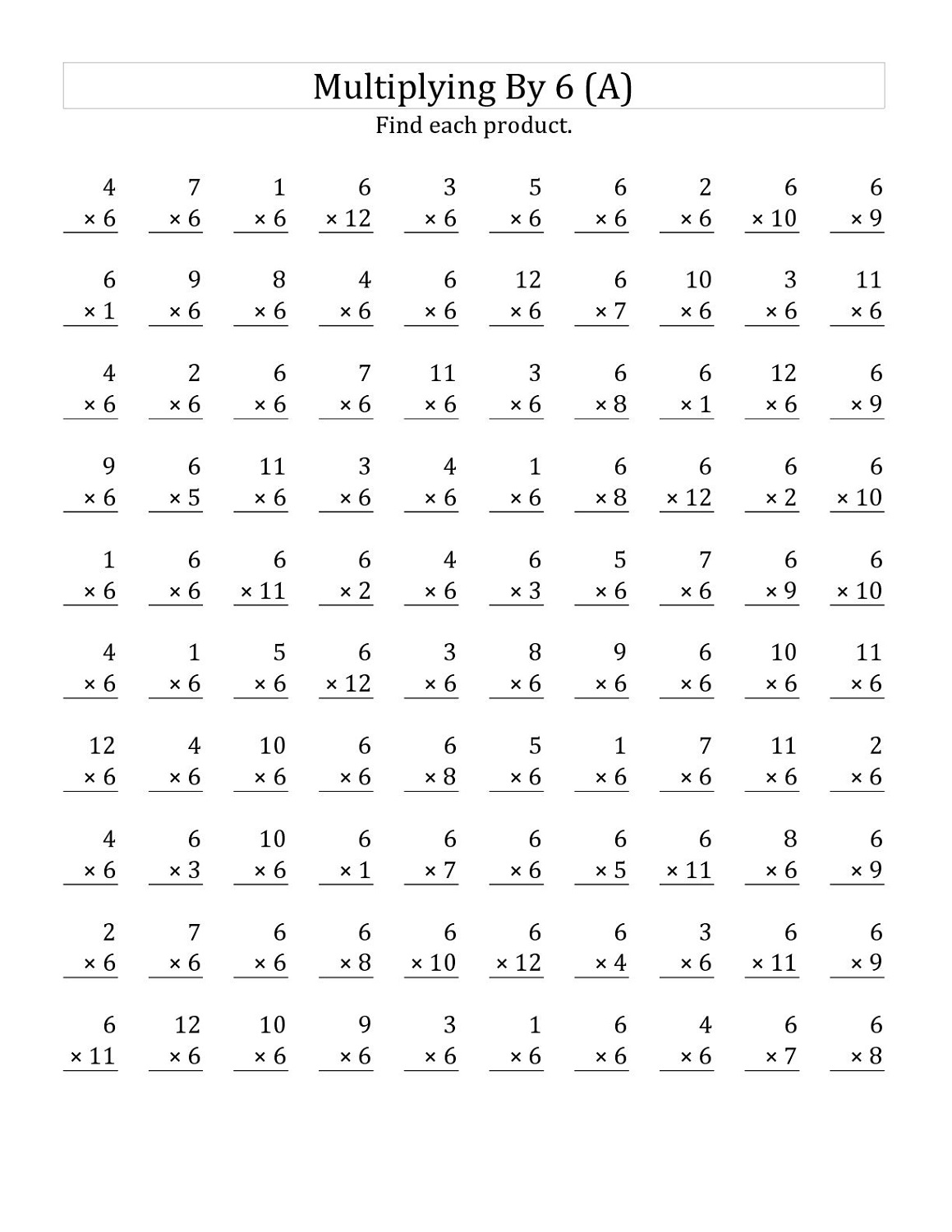 6 Times Table Worksheets