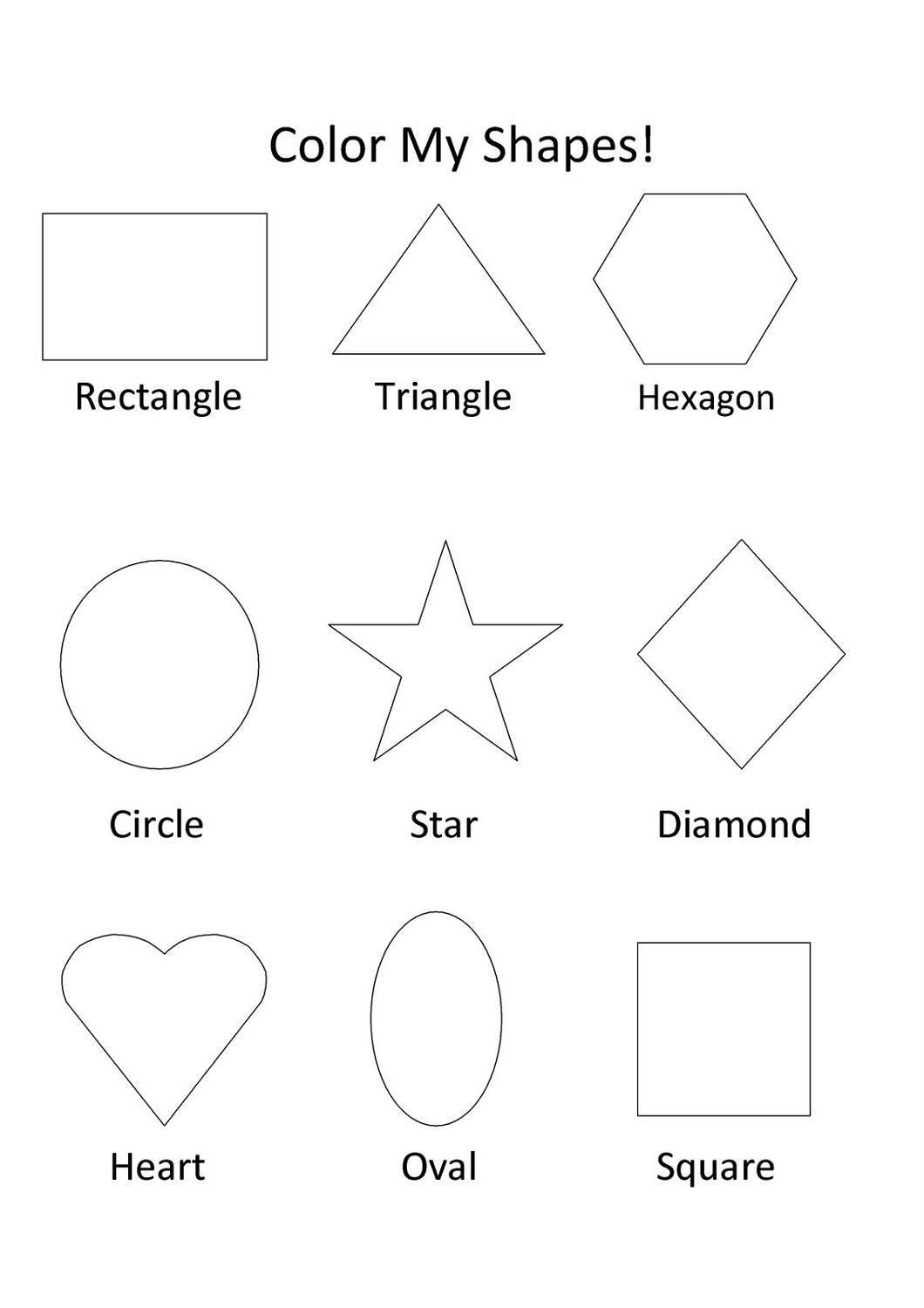 Big Shape Tracing Worksheet