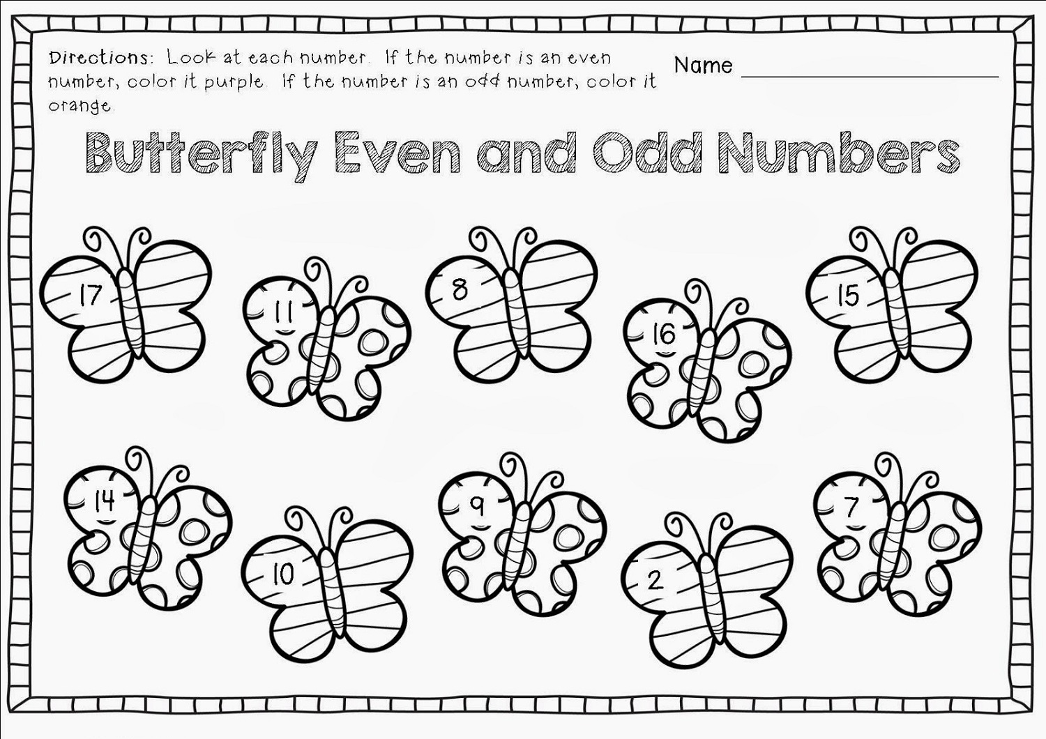 Free Odd And Even Worksheets