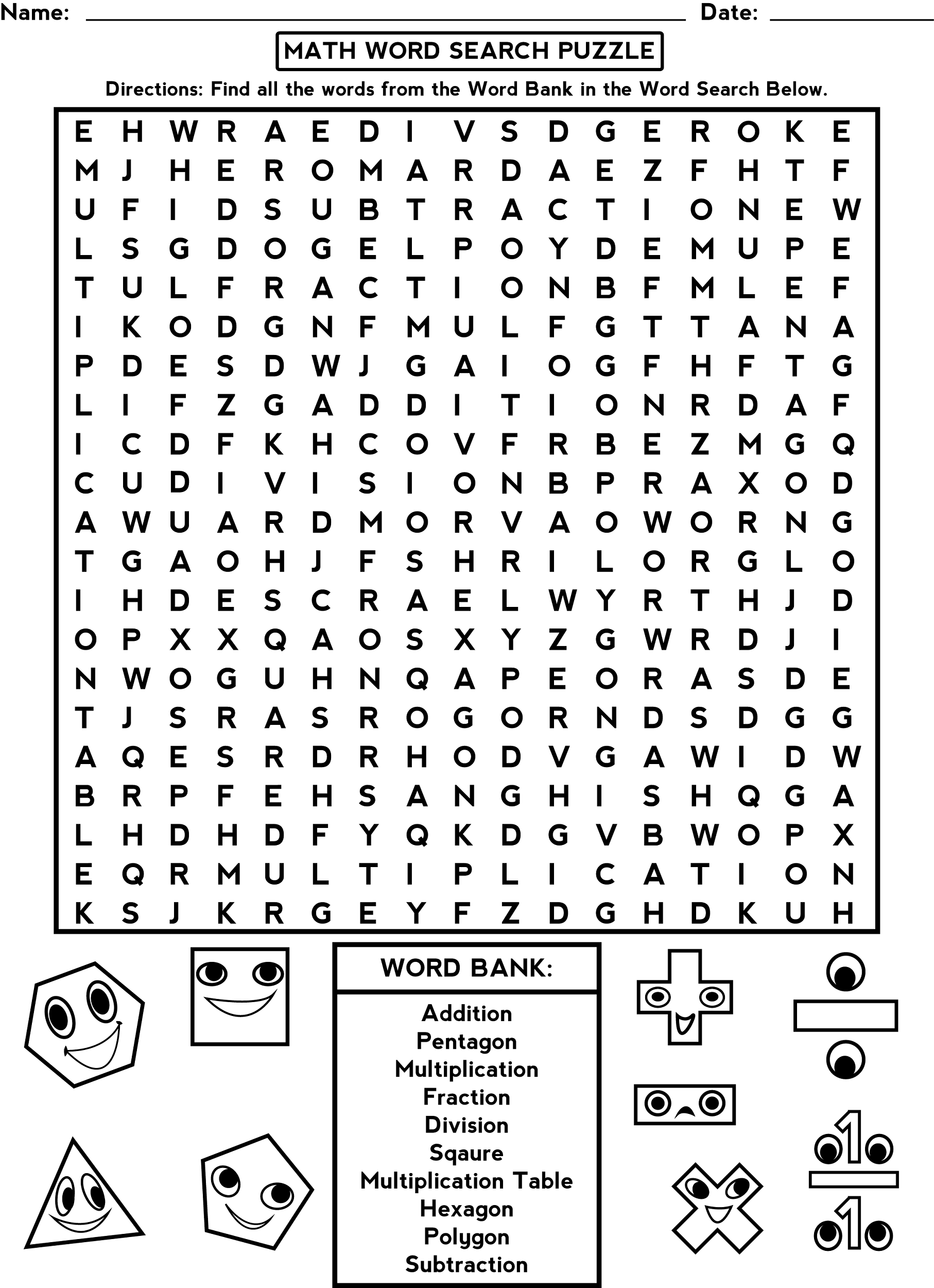 Printable Word Search Worksheets