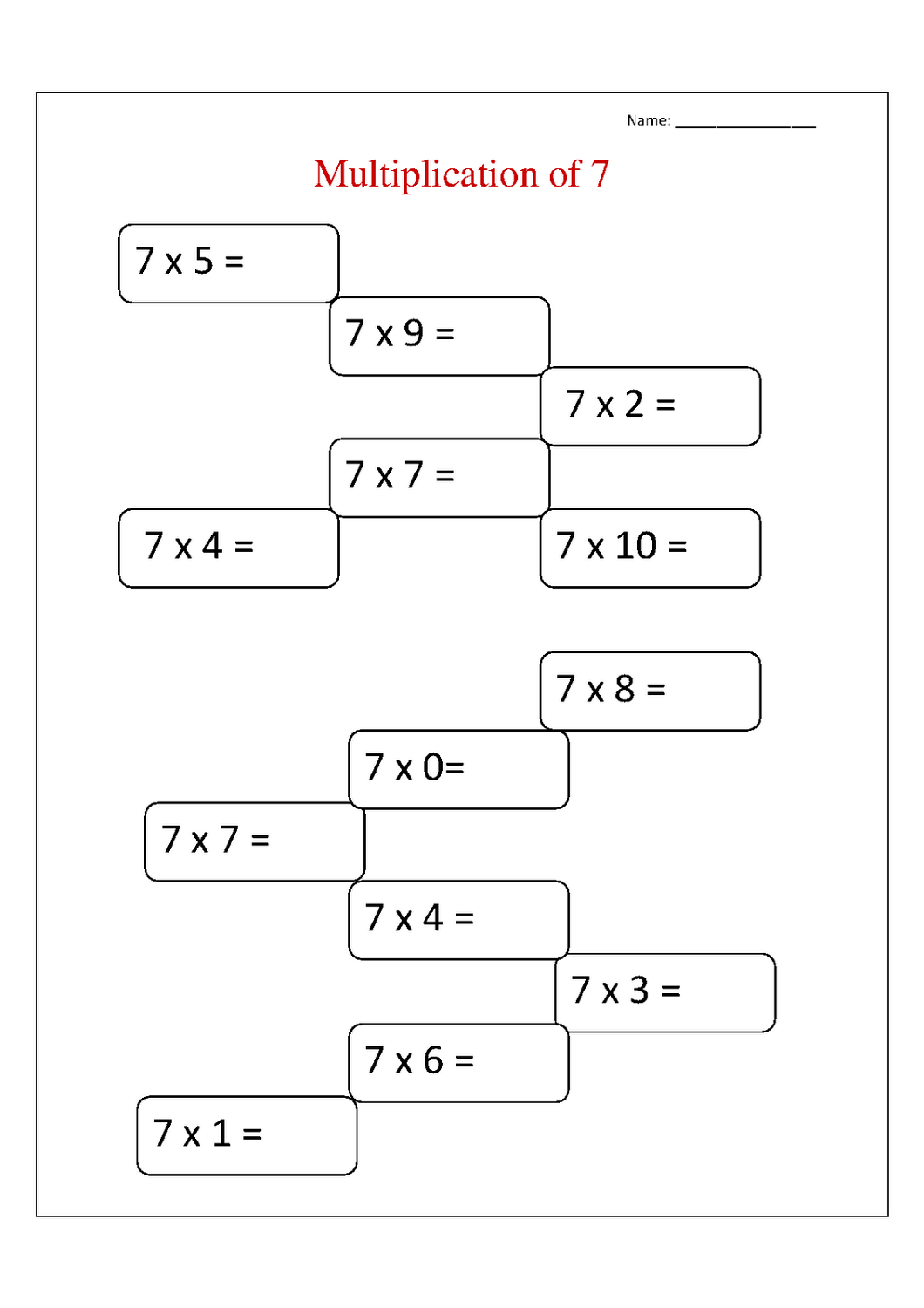 7 Times Table Worksheets